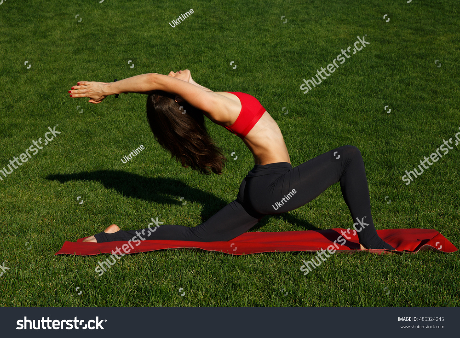 Standard Yoga Poses Girl On Green Stock Photo (Edit Now) 38