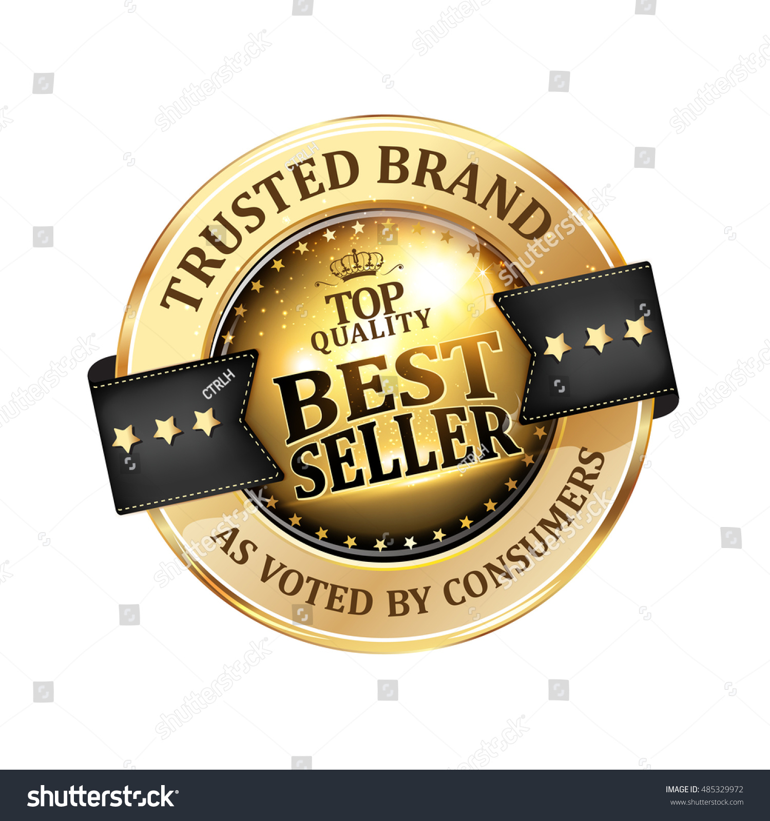 Best Seller, Trusted Brand, As Voted By Consumers   Luxurious Elegant Icon  / Ribbon
