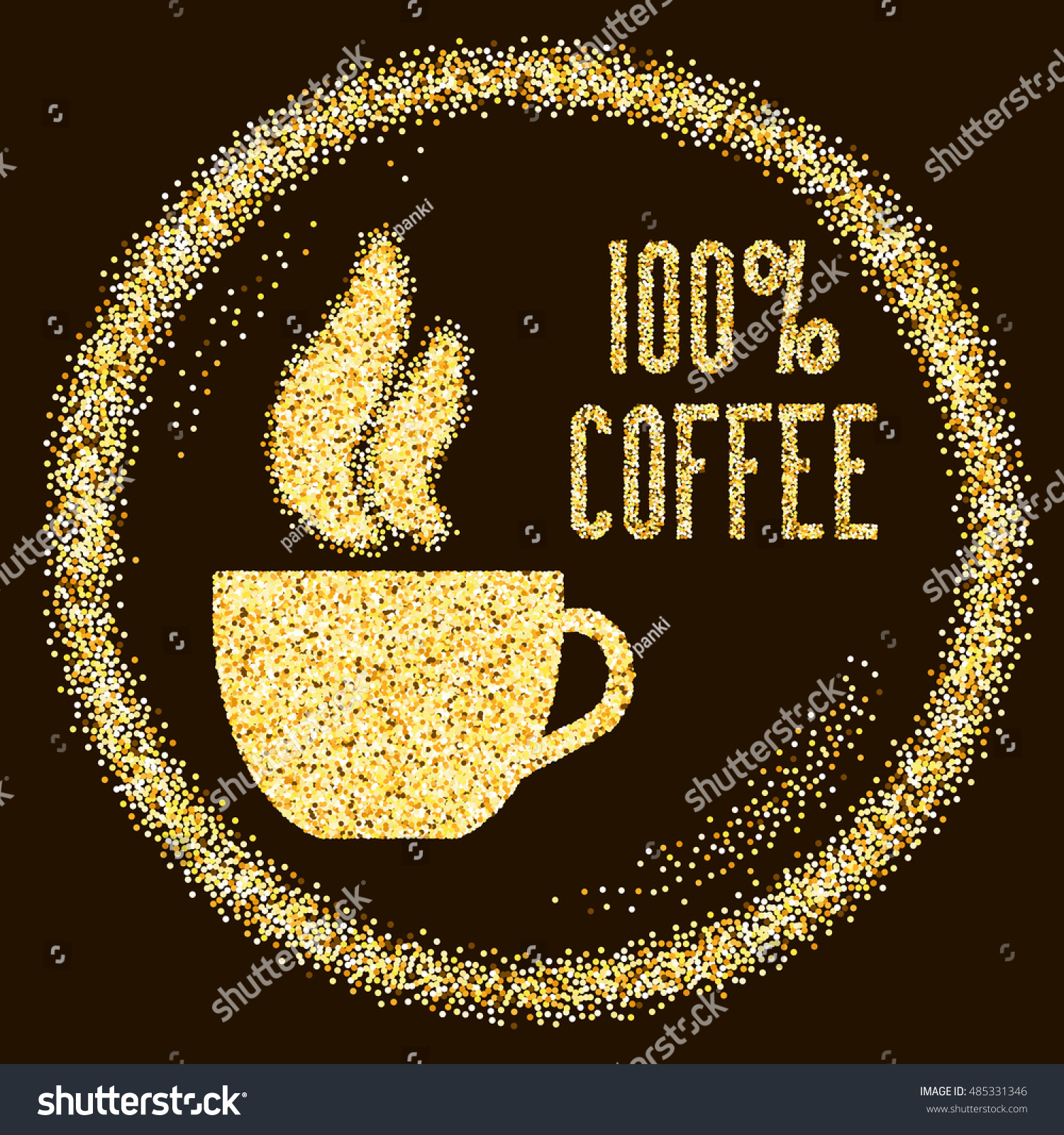 Natural 100 Quality Coffee Type Cup Stock Vector Royalty Free