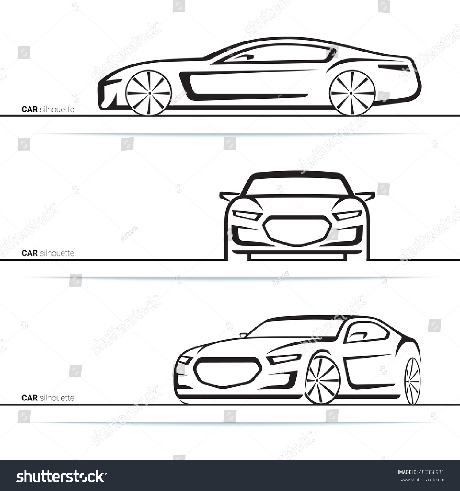 vector car silhouettes set front three stock vector 485338981 shutterstock. Black Bedroom Furniture Sets. Home Design Ideas