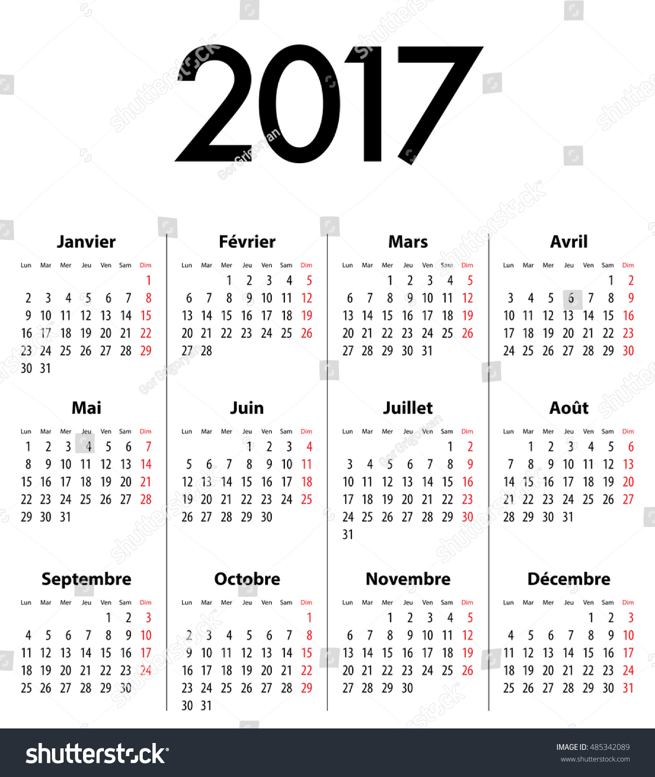 French Calendar Grid For 2017 Year Best For Calendar
