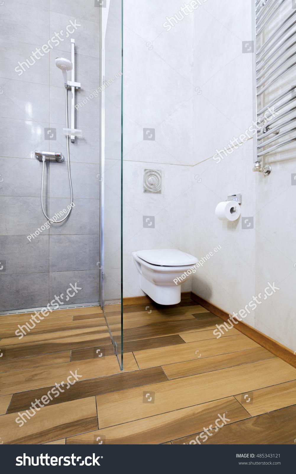 Bathroom Interior Modern Wooden Parquet White Stock Photo (Edit Now ...