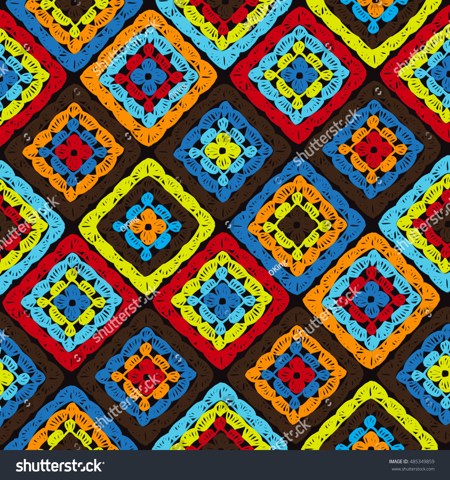 Granny Squares Pattern Ripples Afghan Crochet Stock Photo (Photo ...