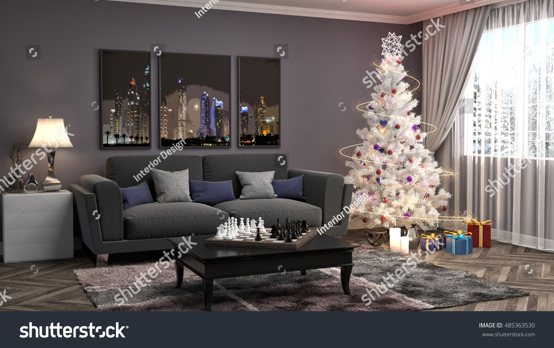 Christmas Tree Decorations Living Room 3d Stock Illustration 485363530 Shutterstock