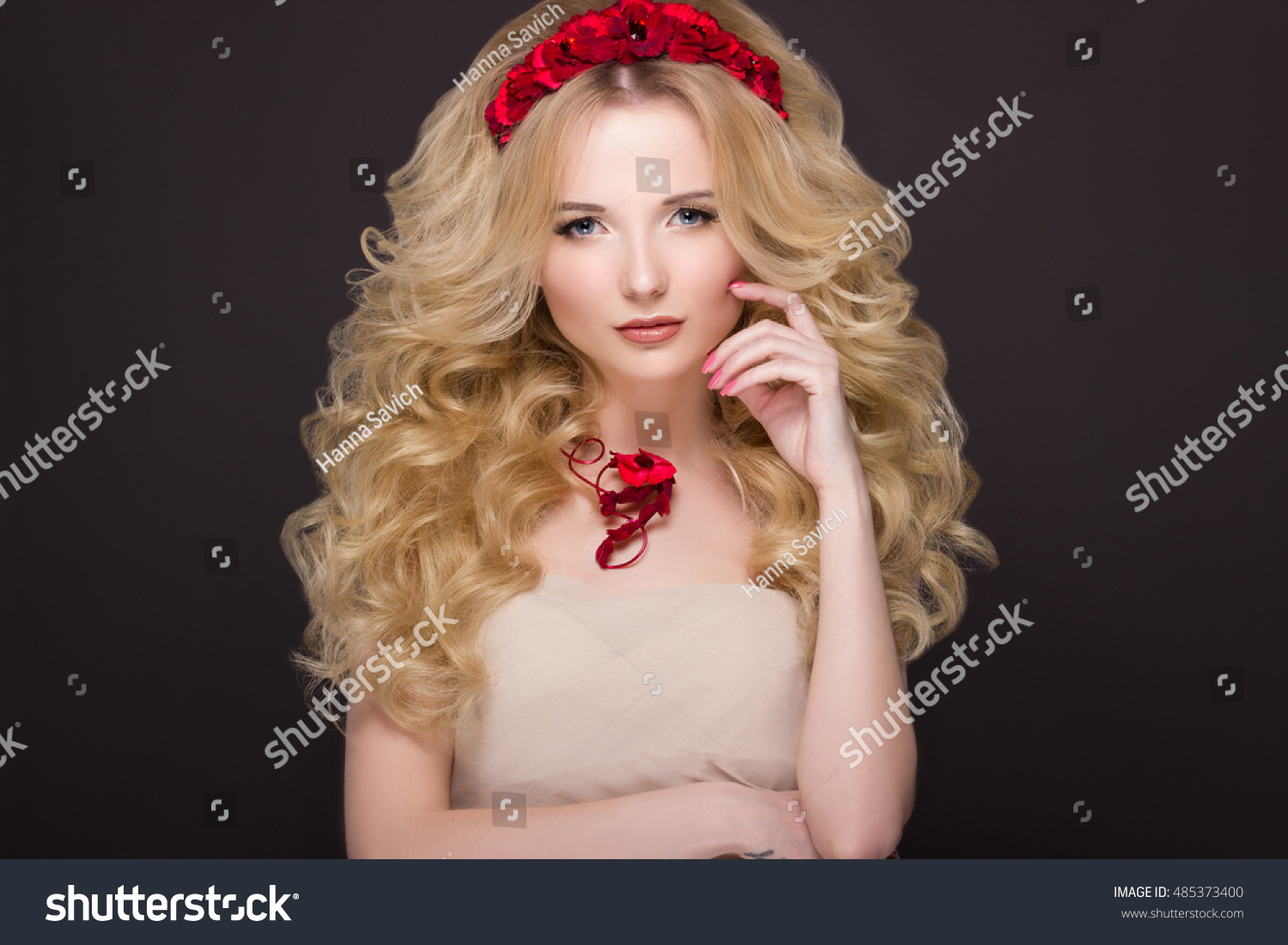 med to haircuts royalty free beautiful model with curly hair 4999