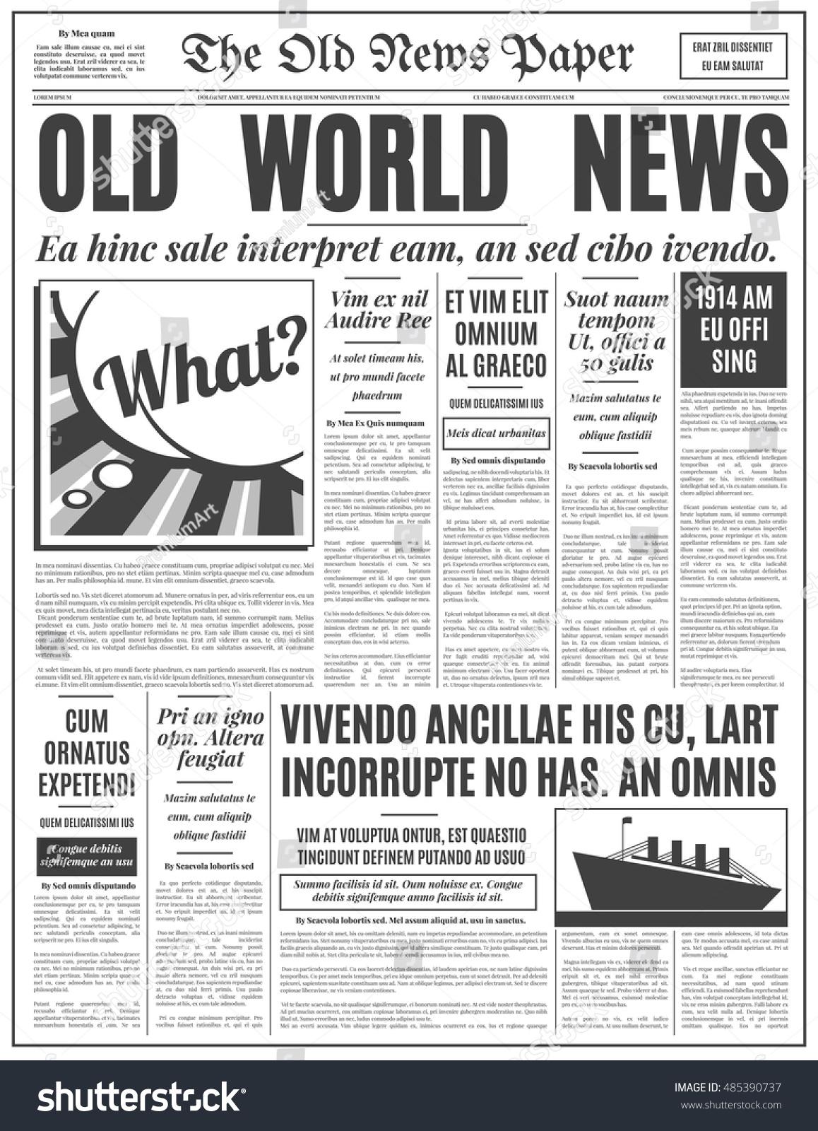 Old Newspaper Vintage Design Retro Vertical Stock Vector Royalty