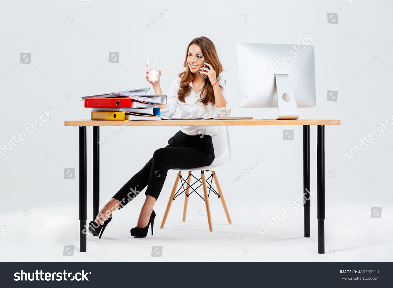 Beautiful Businesswoman Sitting Desk Water Glass Stock Photo ...