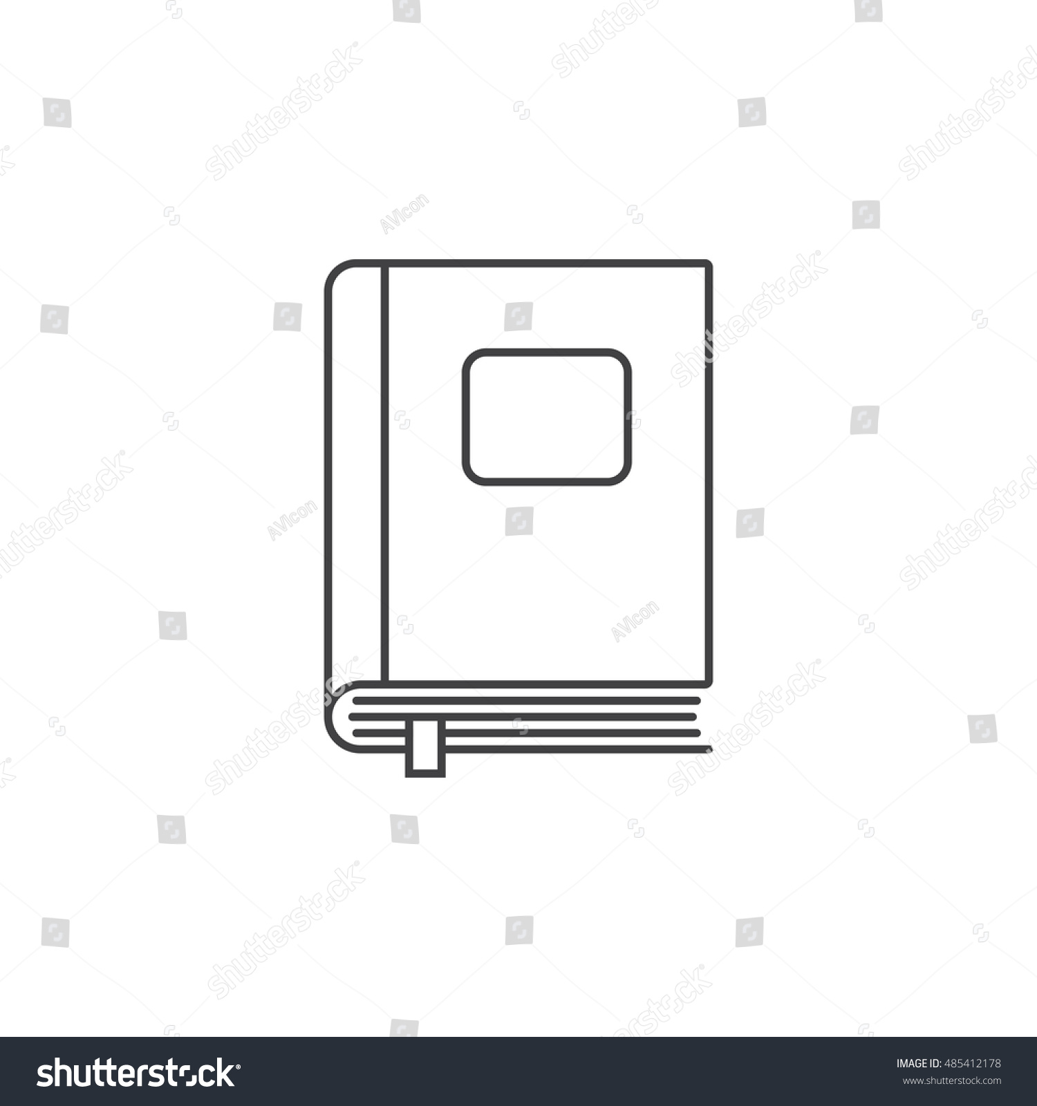 Closed Book Thin Line Icon Outline Stock Vector 485412178 ...