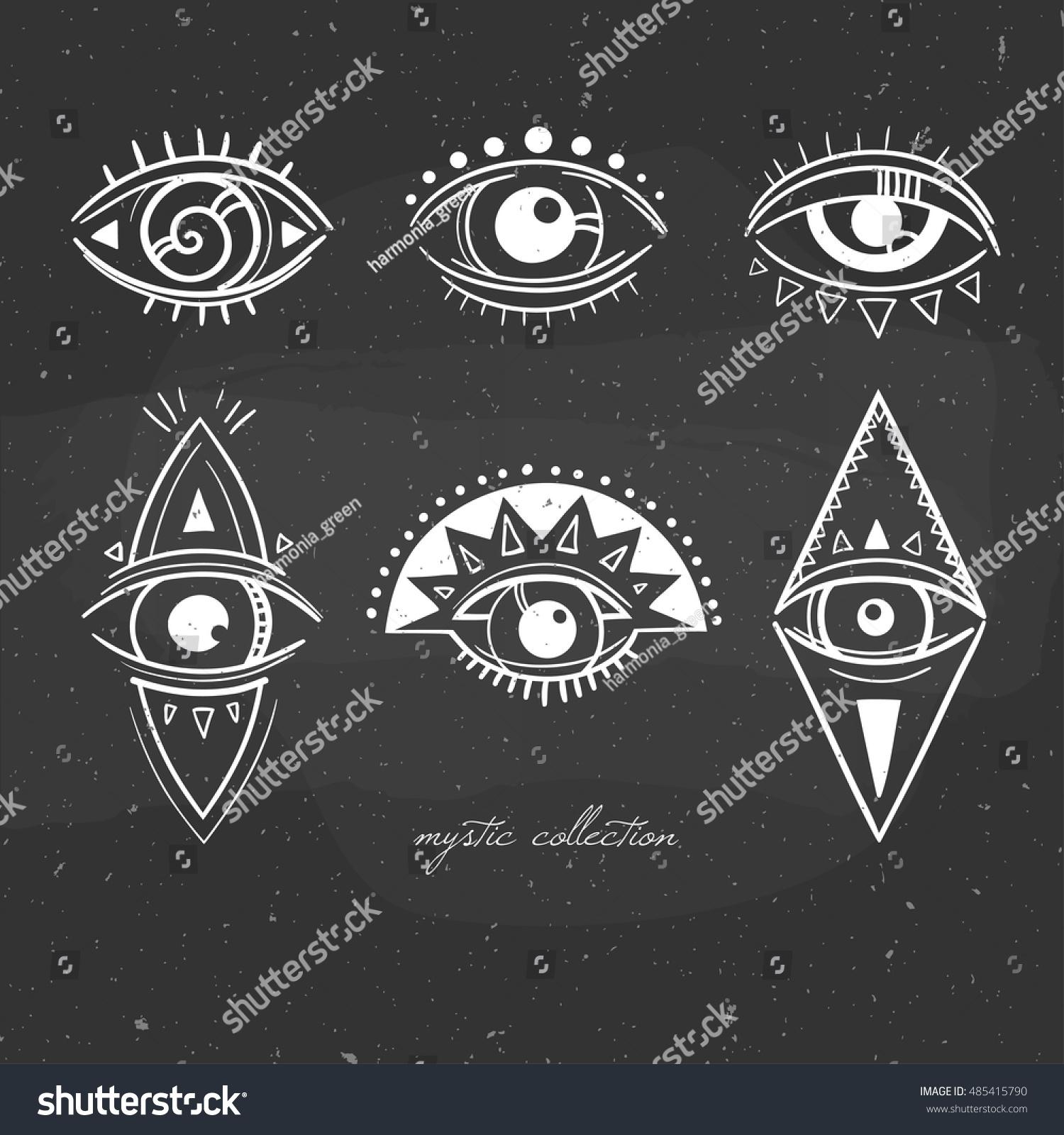 Black White Illustration Mystical Signs Eyes Stock Vector Royalty