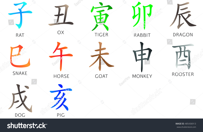 Symbol Chinese Hieroglyphs Translation 12 Zodiac Stock Illustration