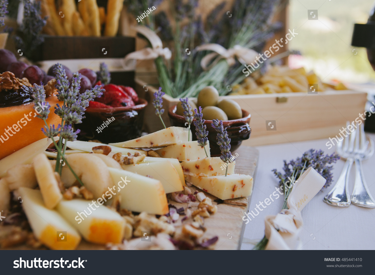 Outside Wedding Reception Catering Served Rustic Stock Photo Edit