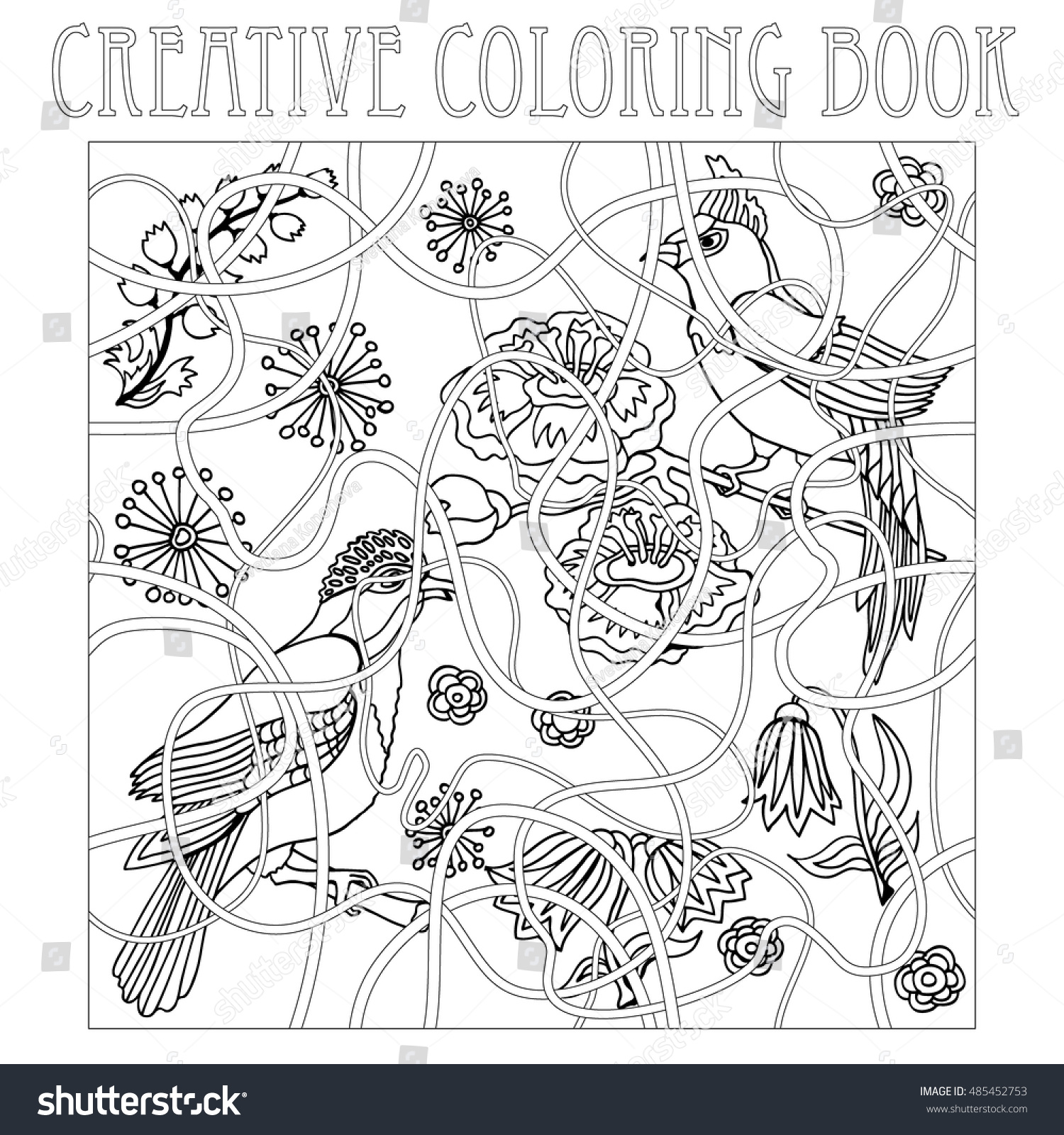 Paradise Birds In Japanese Garden Creative Coloring Book Inspired By Zentangle Art Page With