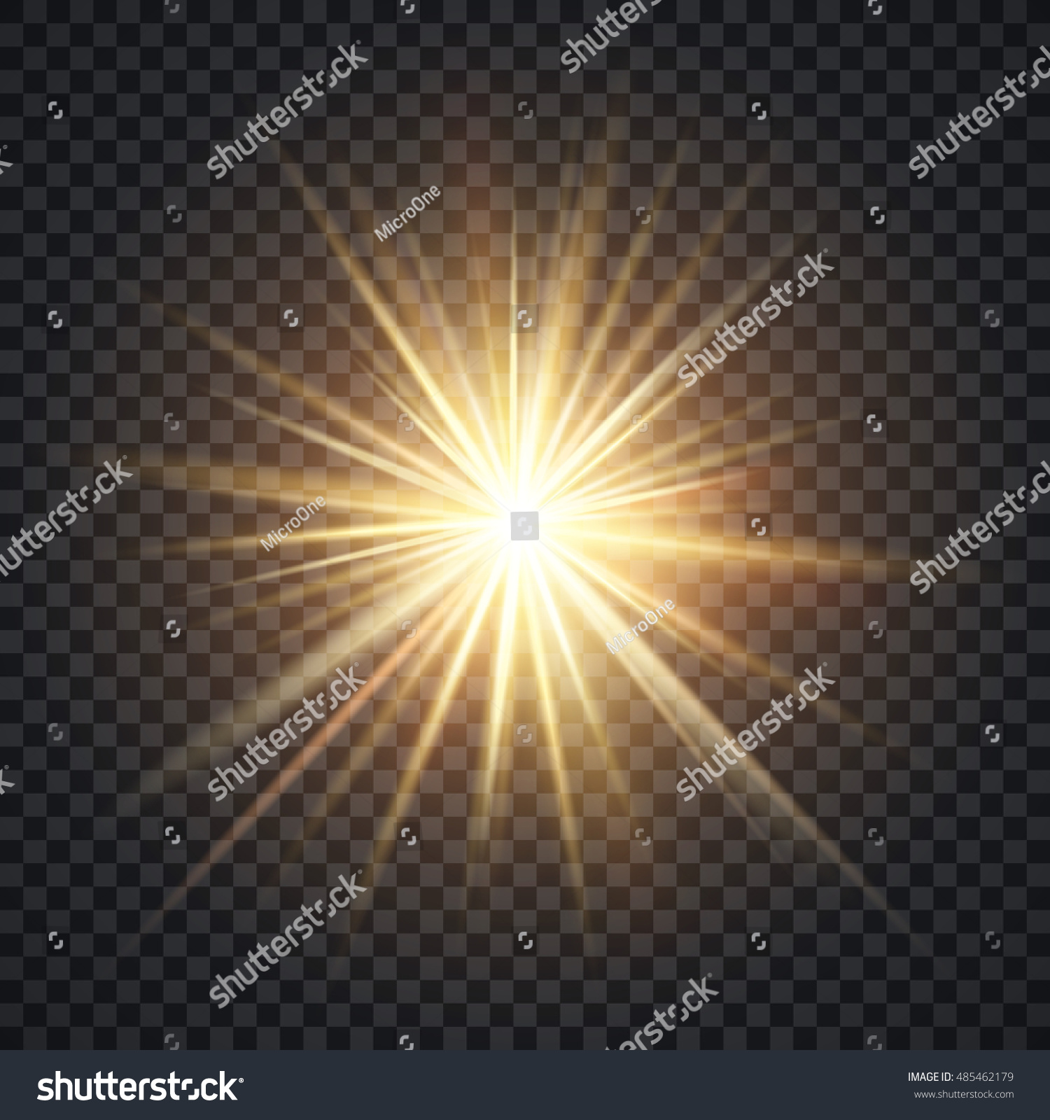 Vector Realistic Starburst Lighting Effect Yellow Sun With Rays And Glow On Transparent Background