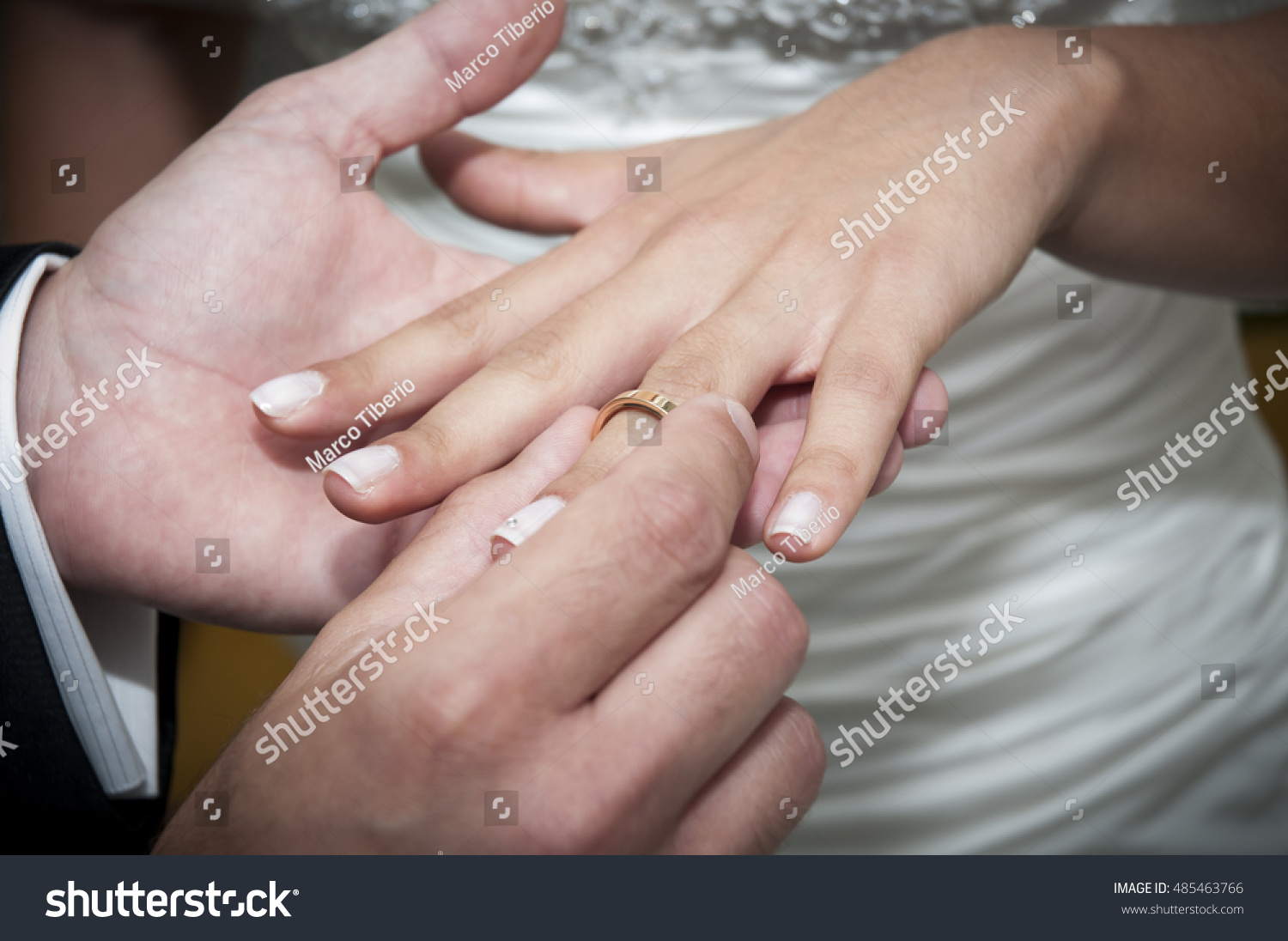 Exchange Wedding Rings Stock Photo (Download Now) 485463766 ...