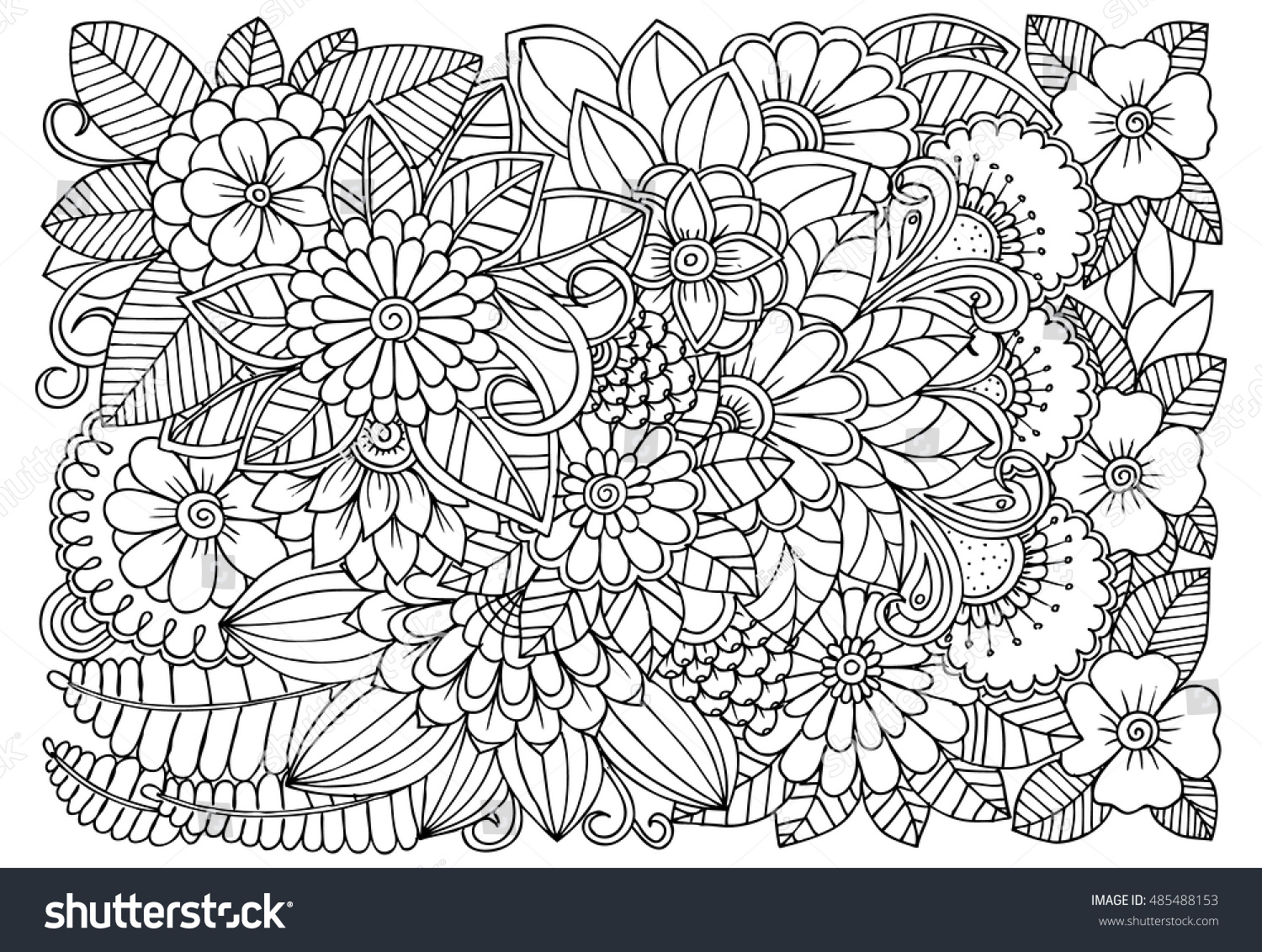 vector coloring page floral pattern doodle stock vector 485488153