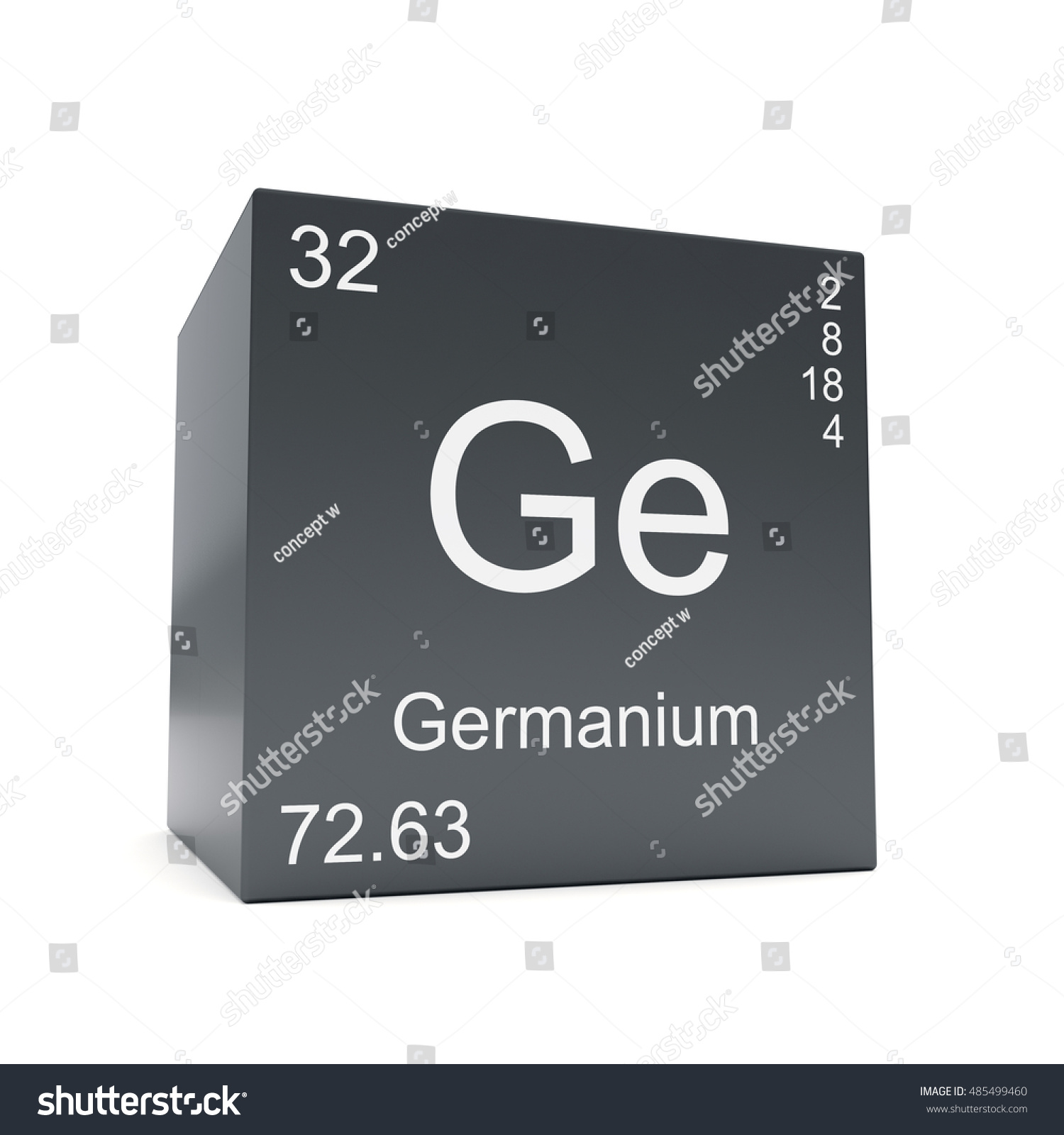 Germanium chemical element symbol periodic table stock germanium chemical element symbol from the periodic table displayed on black cube 3d render gamestrikefo Image collections