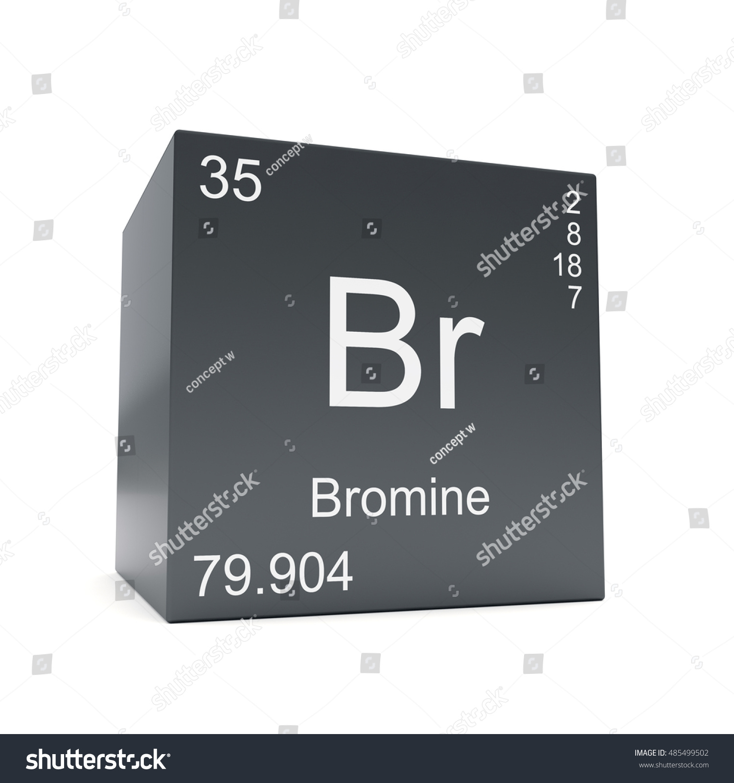 Bromine chemical element symbol periodic table stock illustration bromine chemical element symbol from the periodic table displayed on black cube 3d render biocorpaavc