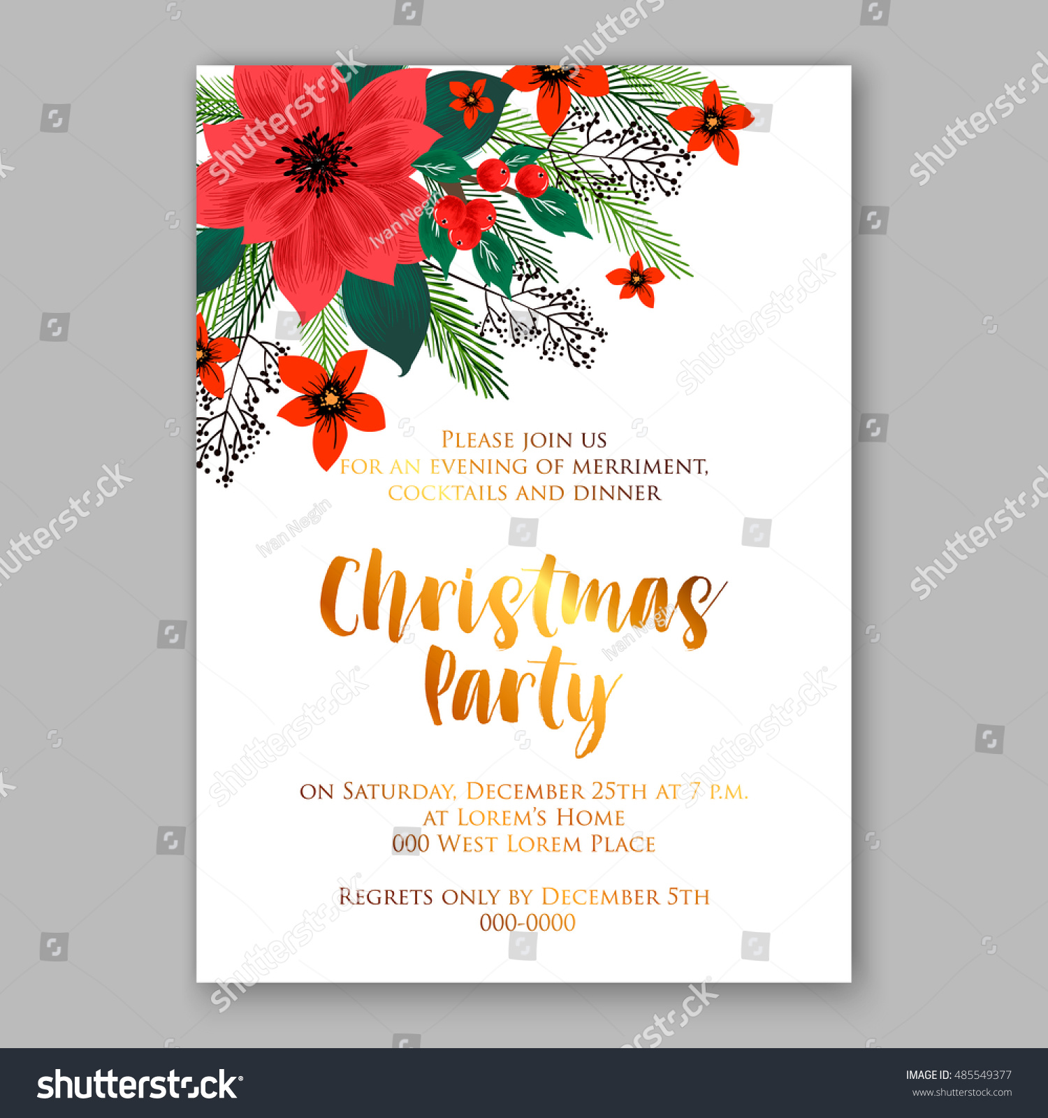 Christmas Party Invitation Template Poinsettia Flowers Stock Vector ...