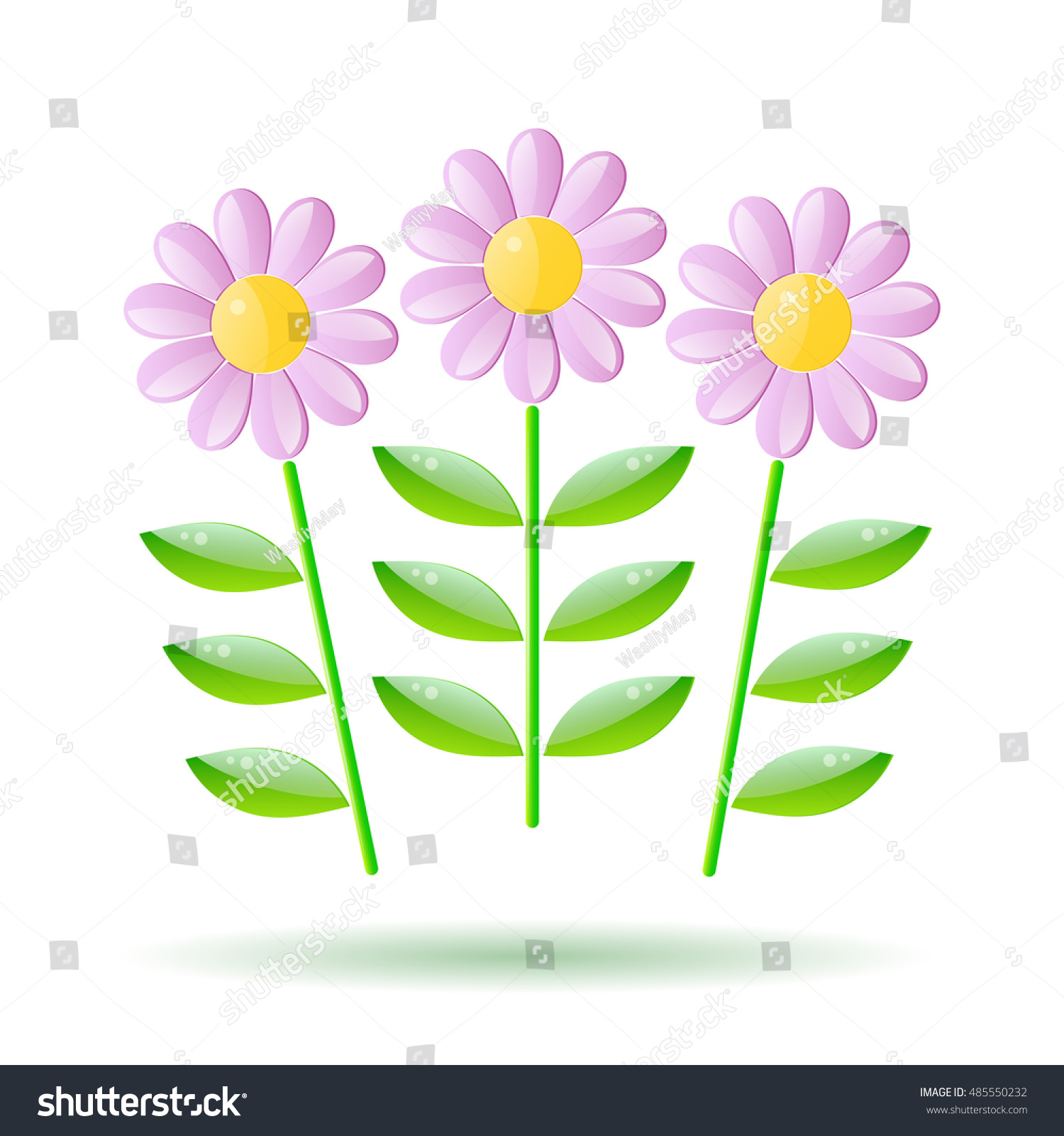 Vector Cartoon Bouquet Of Glass Flowers With A Stem Ez Canvas