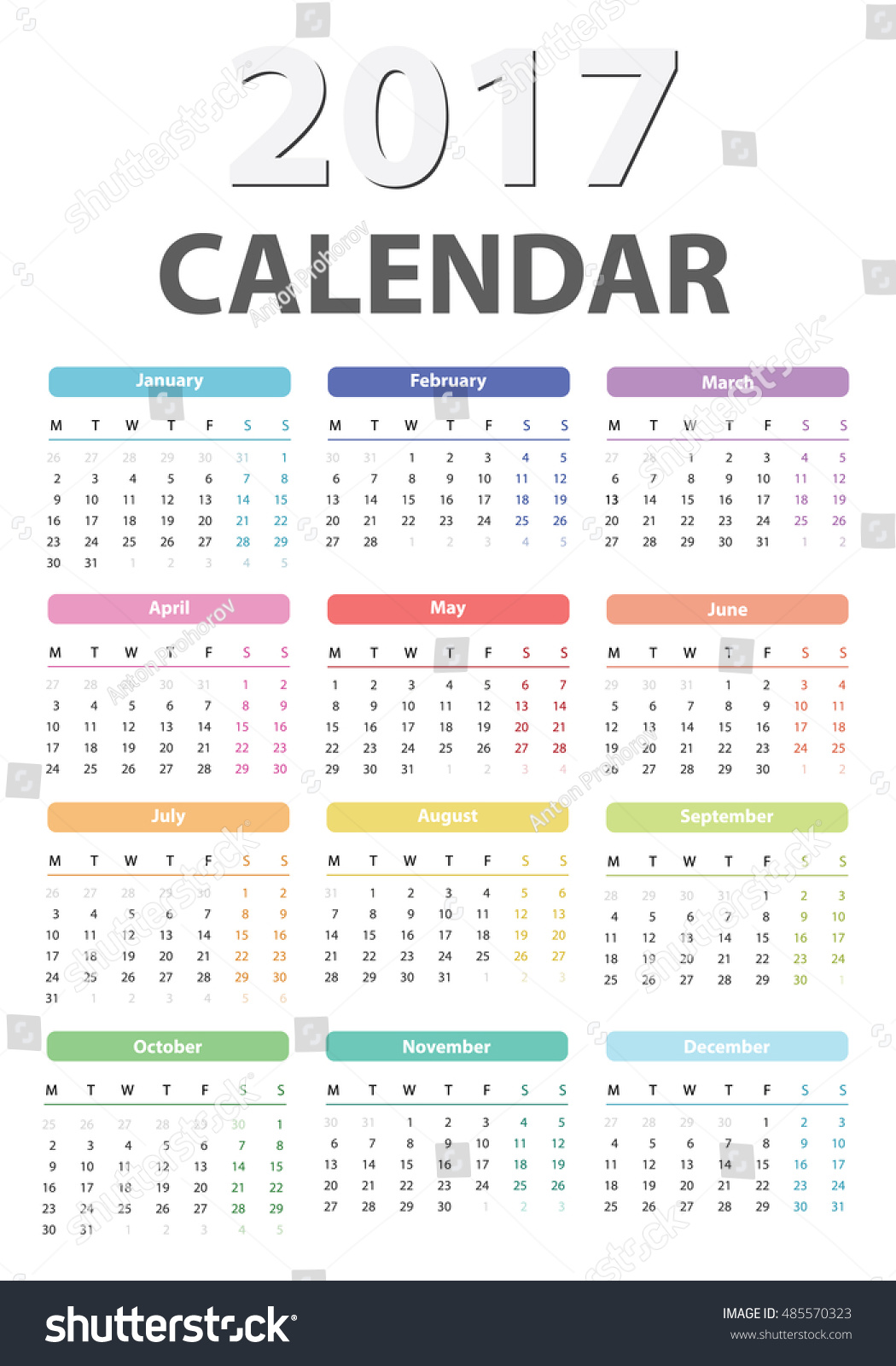 Year Calendar Starting : Calendar starts monday vector stock