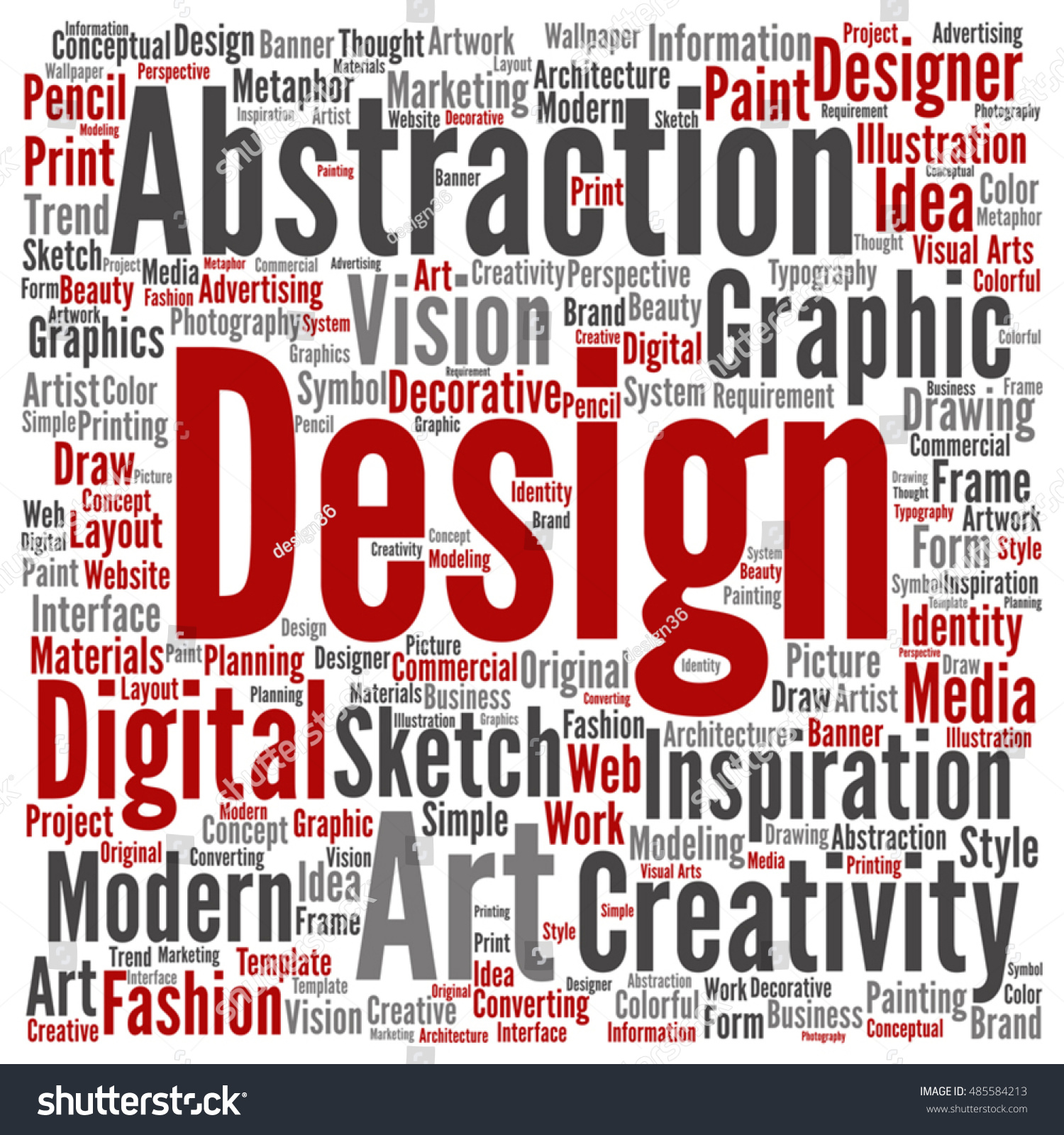 Vector Concept Or Conceptual Creativity Art Graphic Design Square Word Cloud Isolated On Background Metaphor To