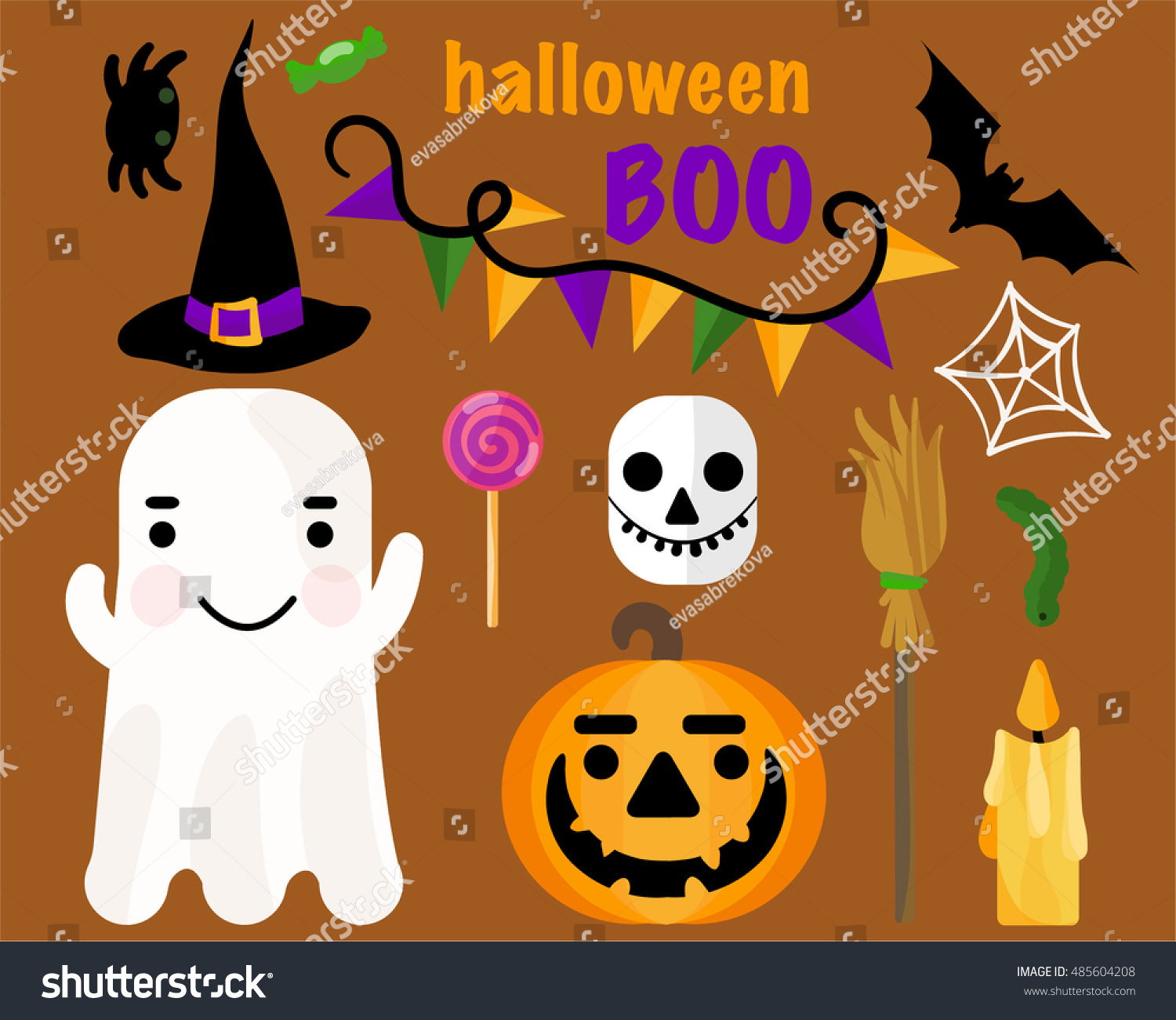 Vector Seamless Pattern Halloween Theme Includes Stock Vector ...