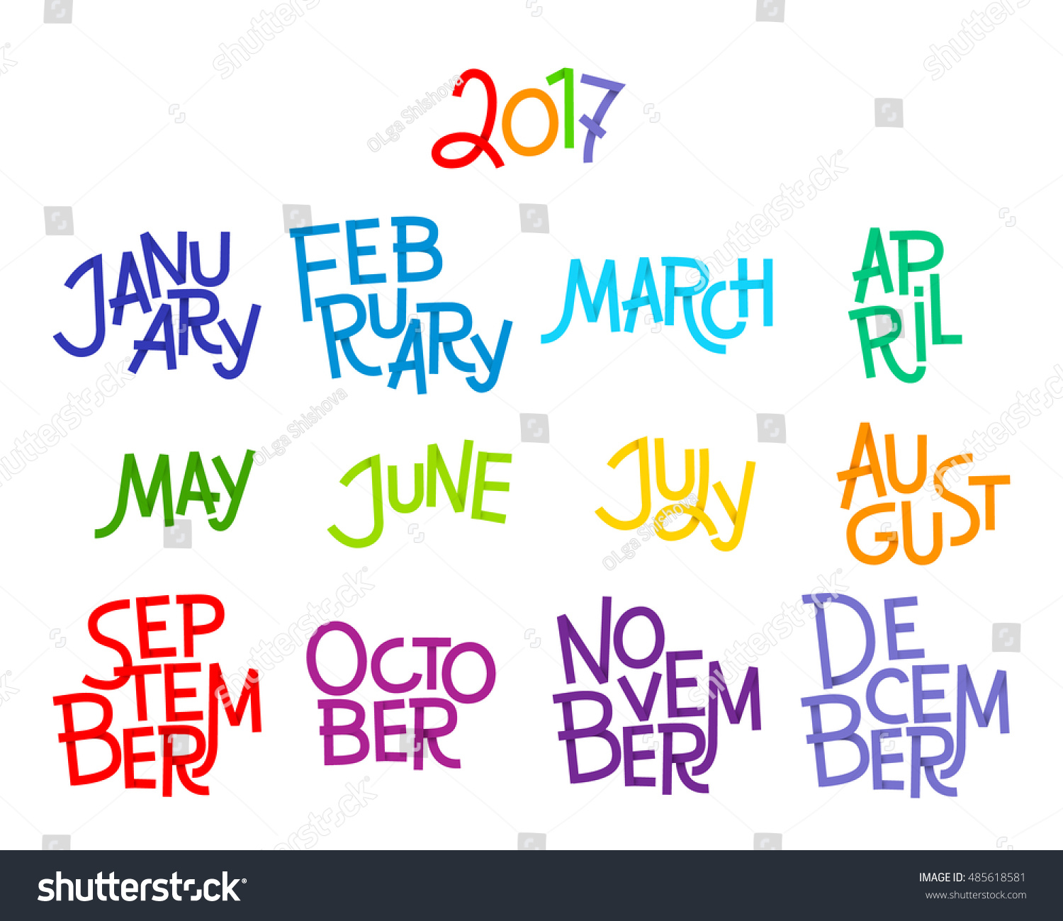 Lettering Months Of The Year December January February March April May June July August September October November 2017