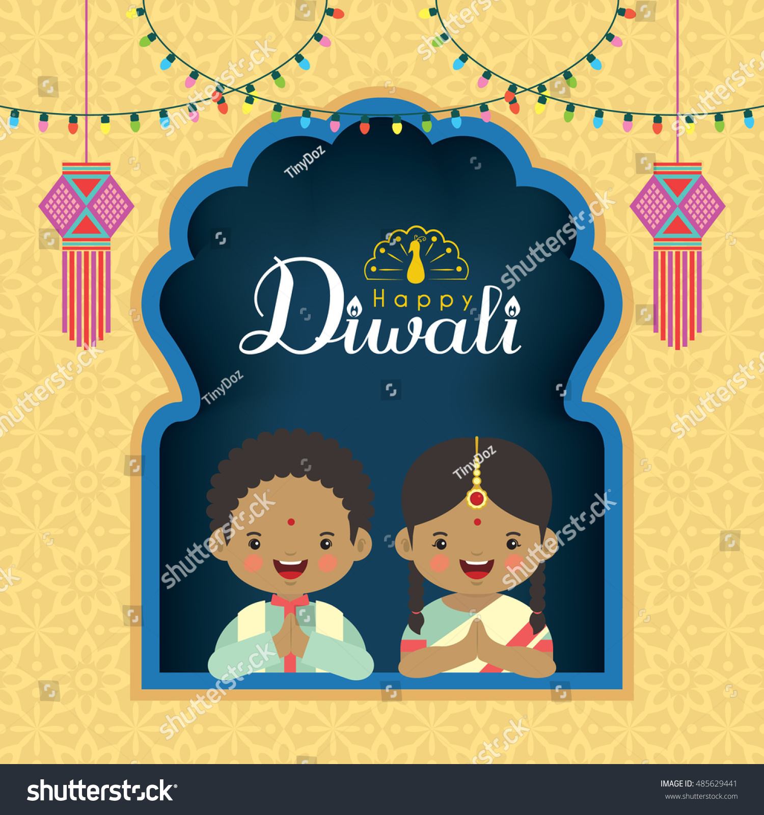 Diwali Deepavali Vector Greeting Illustration Cute Stock Vector