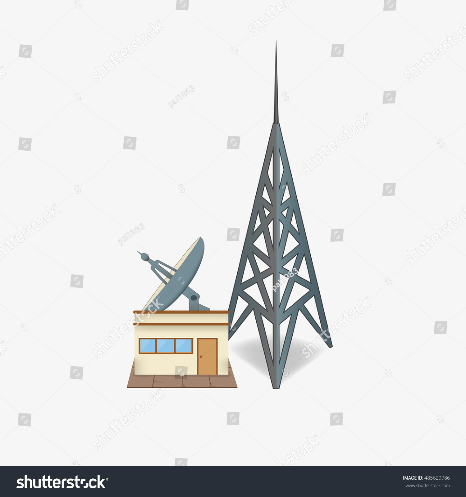 Radio Station Satellite Dish Tower Broadcast Stock Vector Royalty Building A For The Of Studio