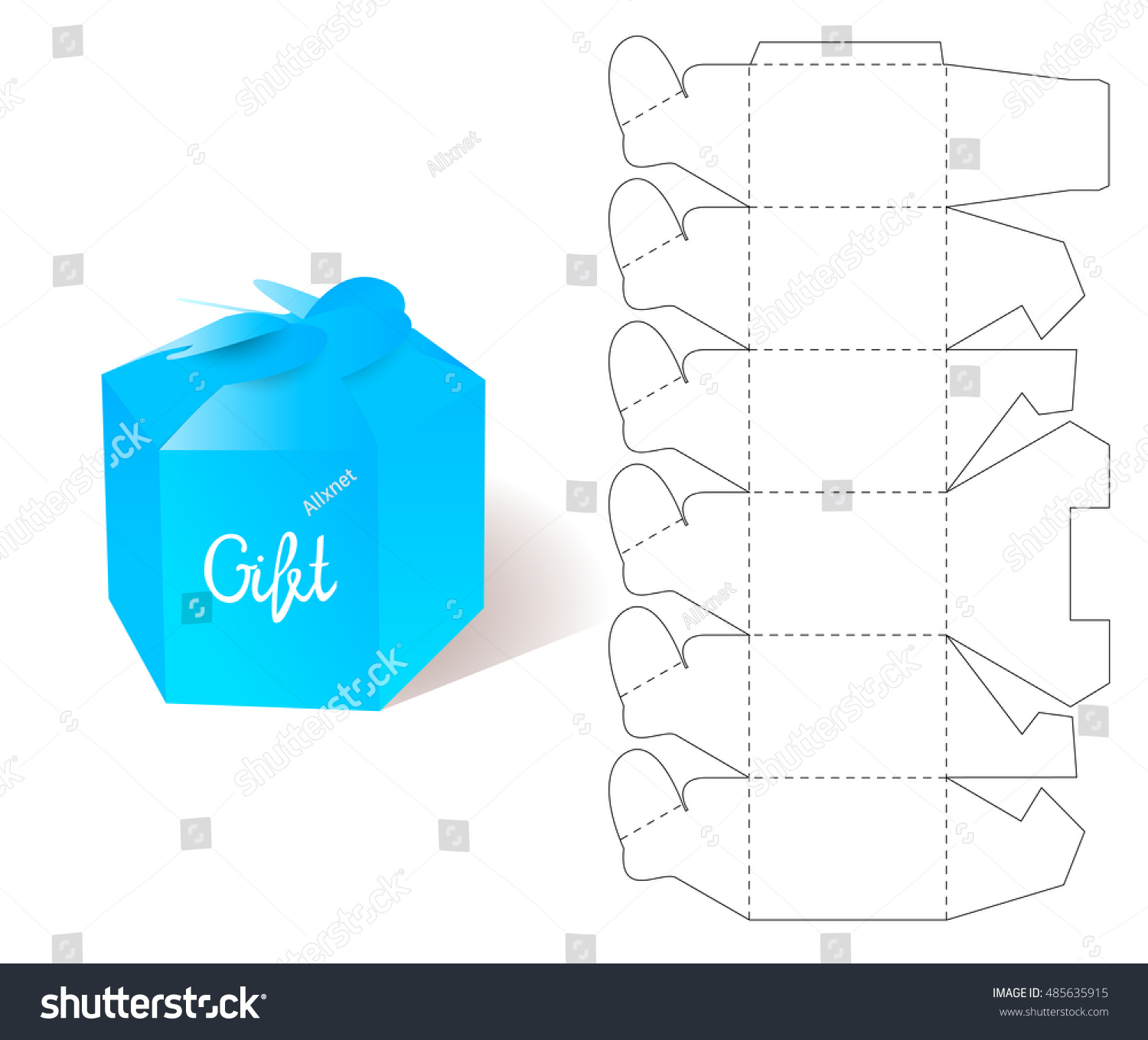 Box paper blueprint gift box craft vector de stock485635915 paper blueprint gift box craft mockup template retail cardboard with die malvernweather Images