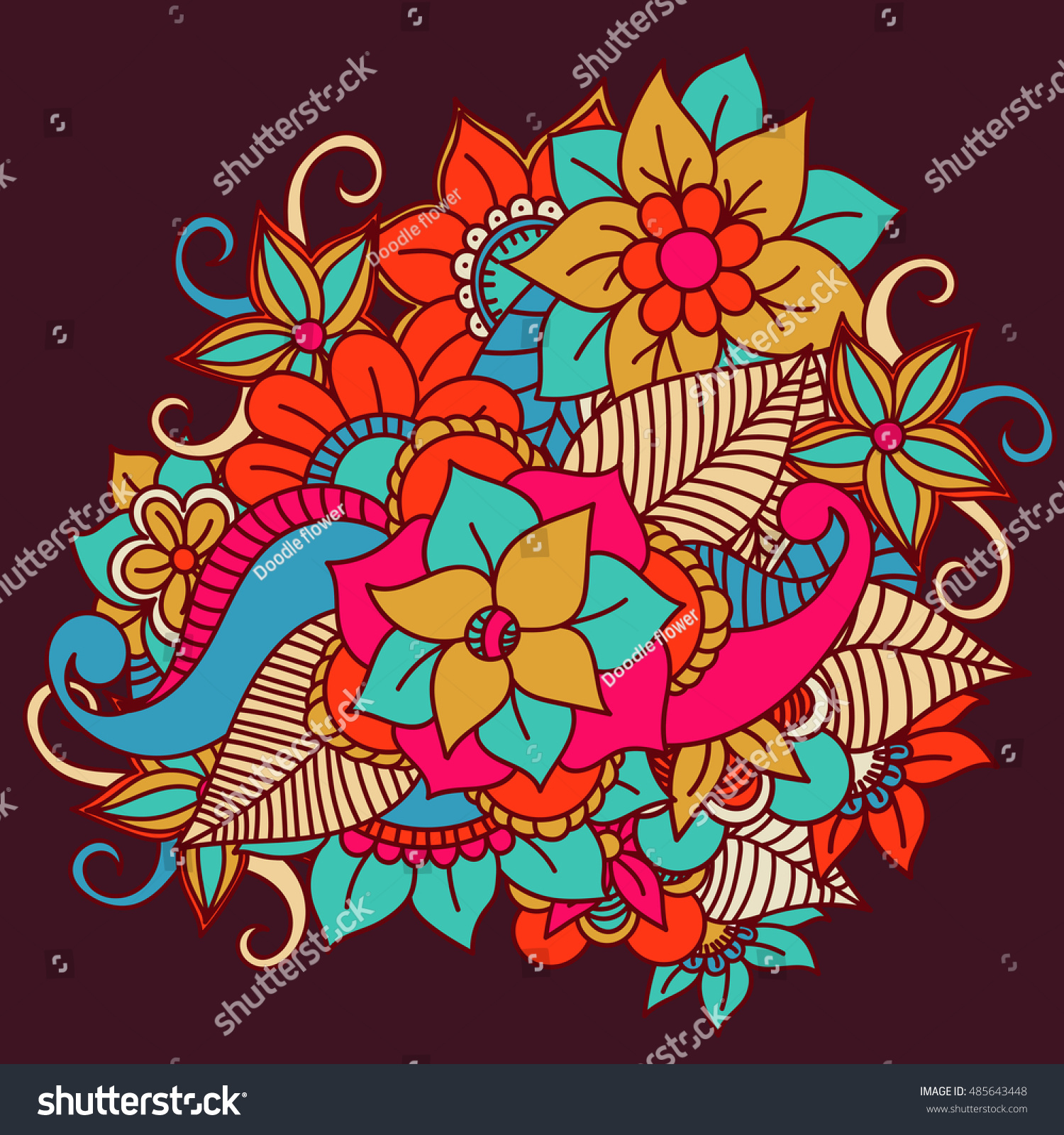 Flowers Vector Flowers Doodle Flowers Zentangle Stock Vector ...