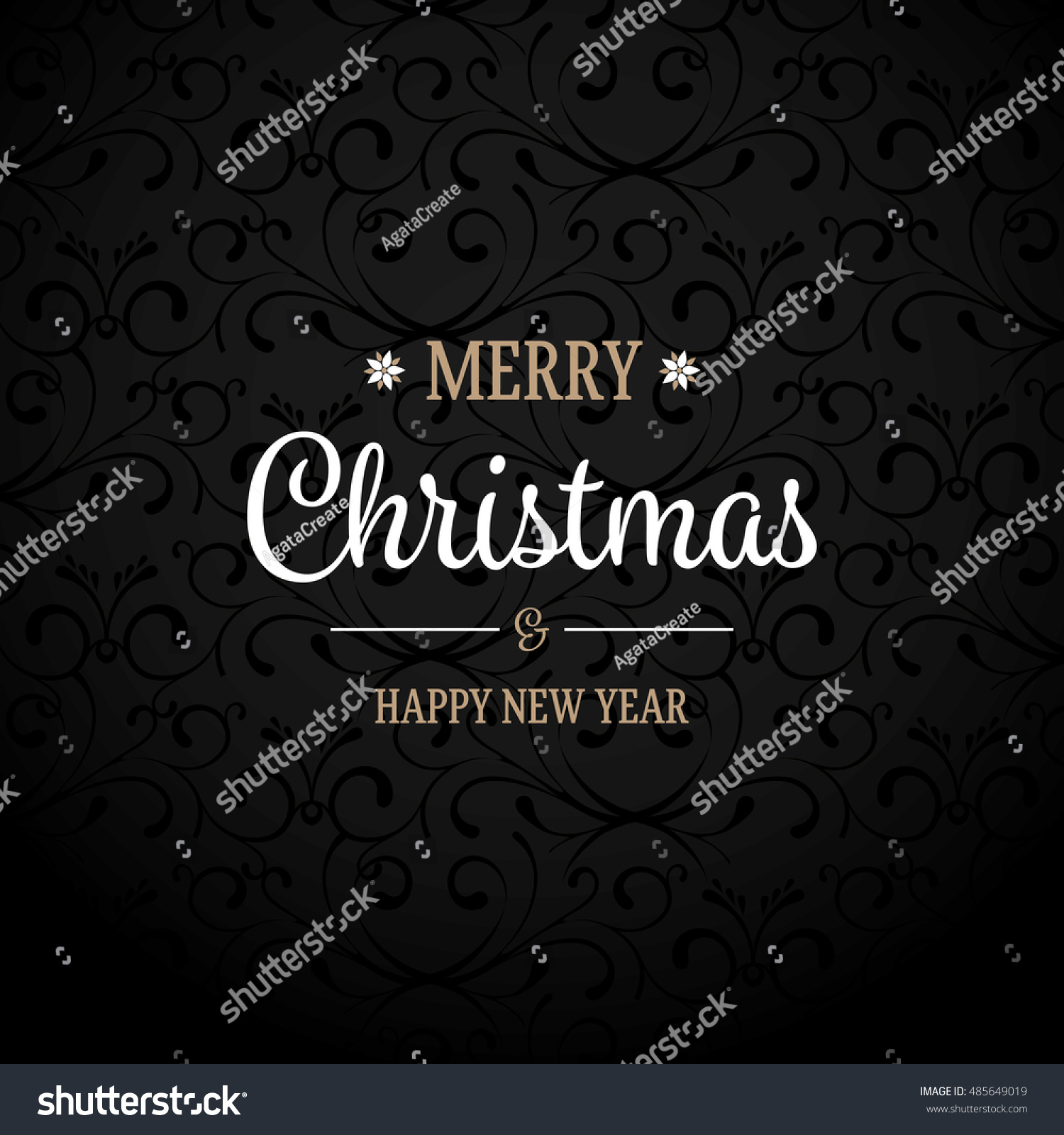 Black Ornament Background Christmas Greetings Stock Vector 485649019