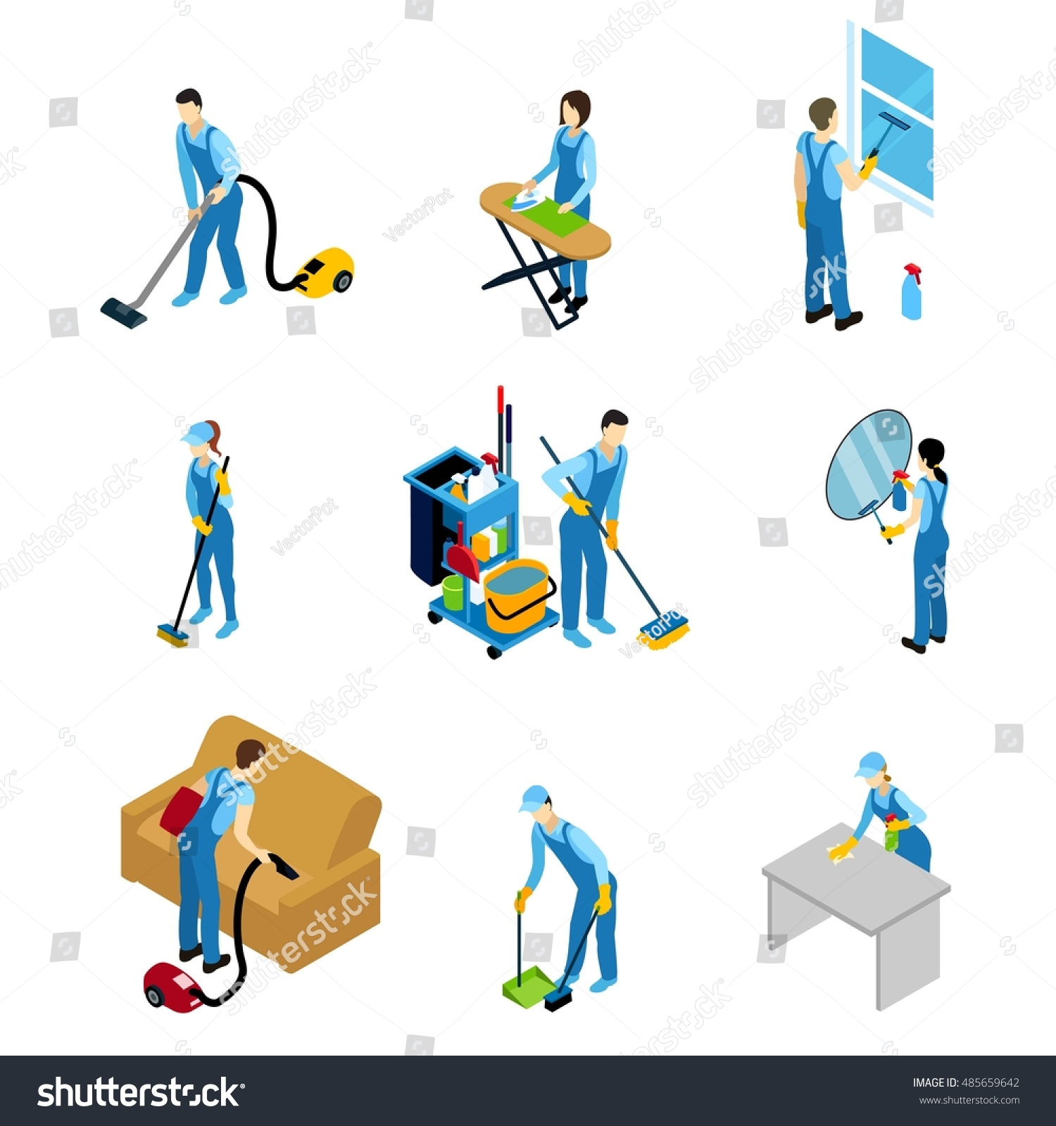 Professional Cleaners Isometric Icons Set Men Stock Vector