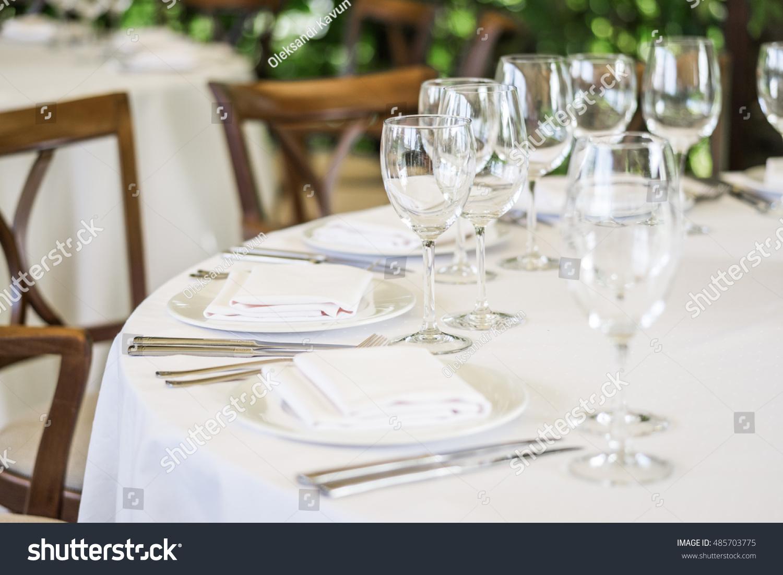 Wedding Decor Table Setting Floral Arrangements Stock Photo (Royalty ...