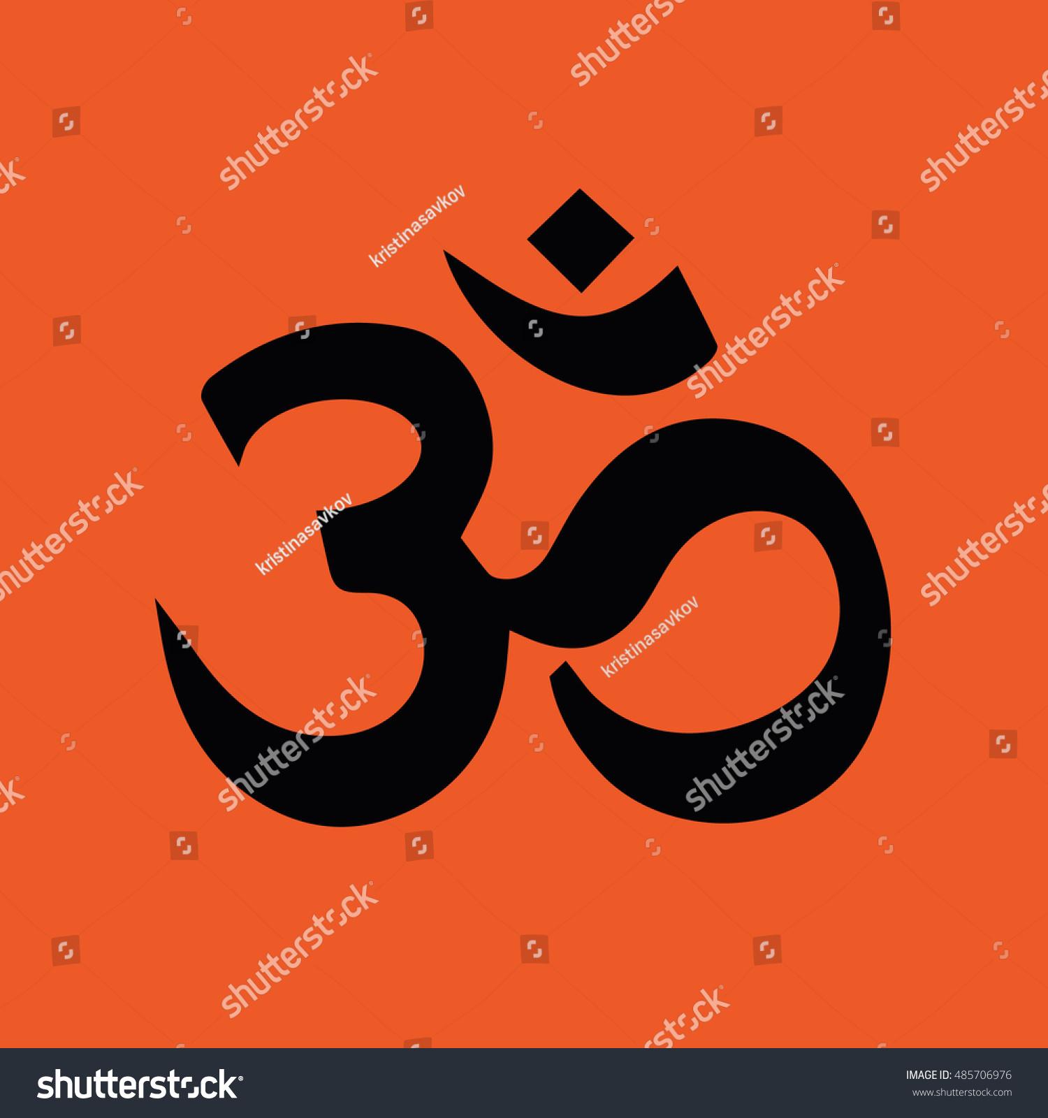 Om symbol hinduism vector icon orange stock vector 485706976 om symbol of hinduism vector icon orange background biocorpaavc