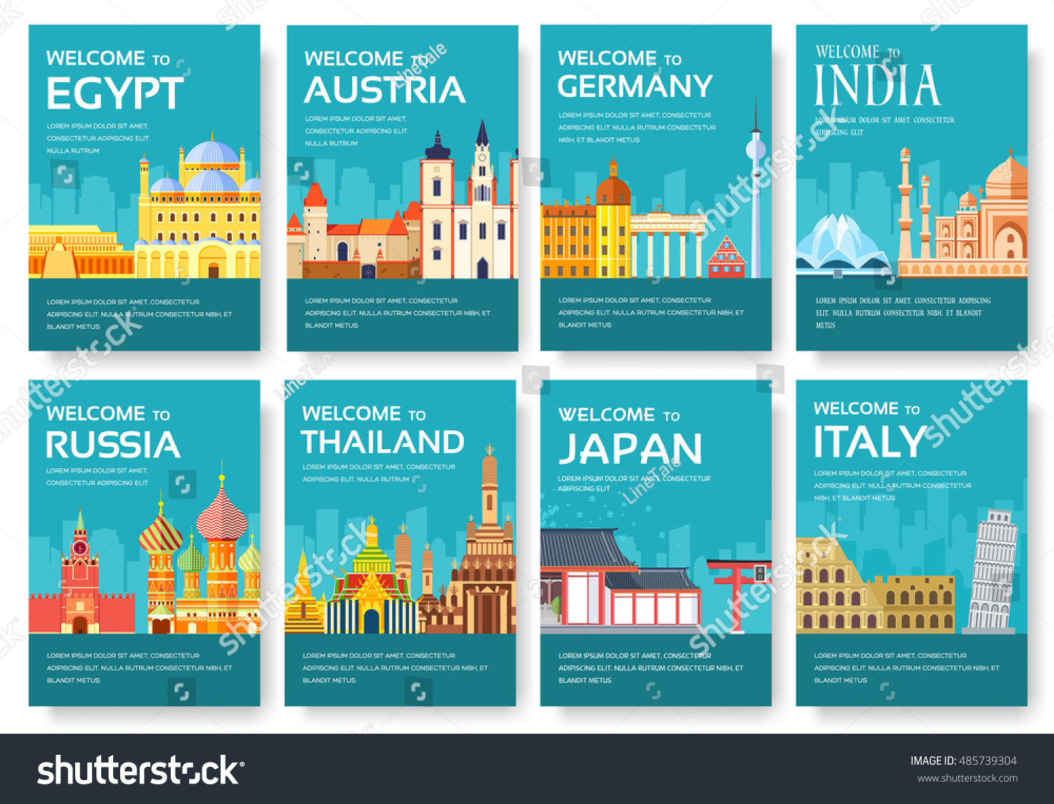 country egypt austria germany india russia stock vector