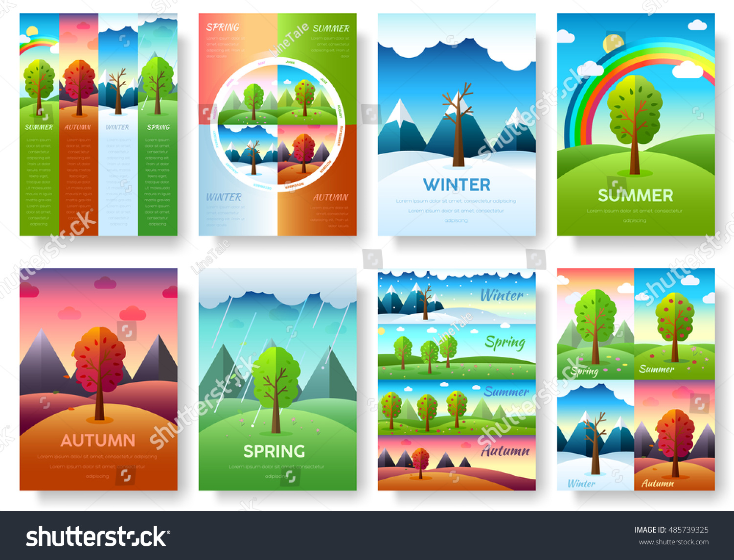 12 Months Year Weather Year Information Stock Vector 485739325 ...