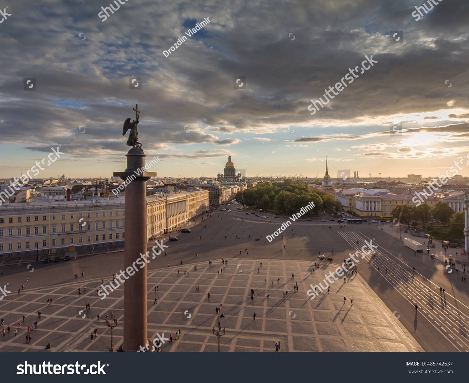 Russia Saint-Petersburg 19 September 2016 Aerial view of Palace Square and Alexander Column at sunset a gold dome of St Isaac's Cathedral the Winter Palace the Hermitage little people walks