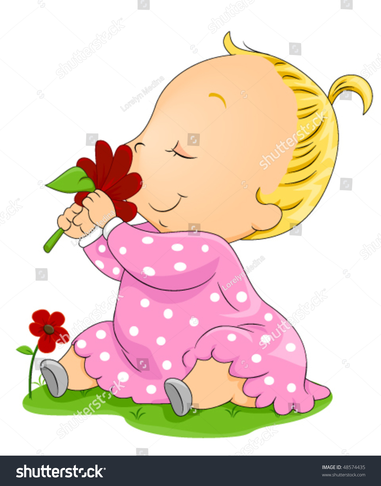 Baby Smelling Flower Vector Stock Vector (Royalty Free) 48574435 ...