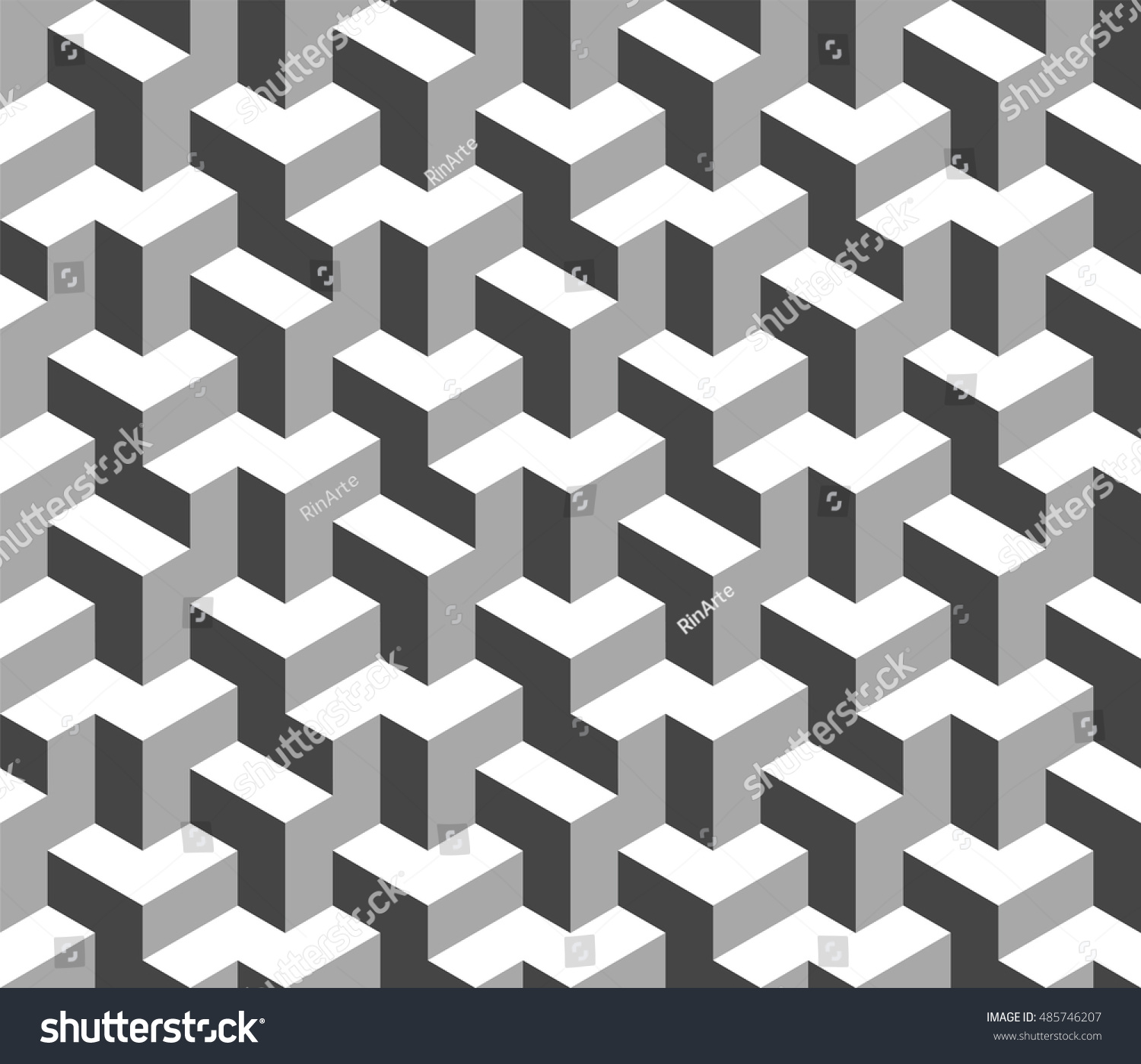 Abstract black and white 3d geometric seamless pattern optical illusion 3d shapes vector 10