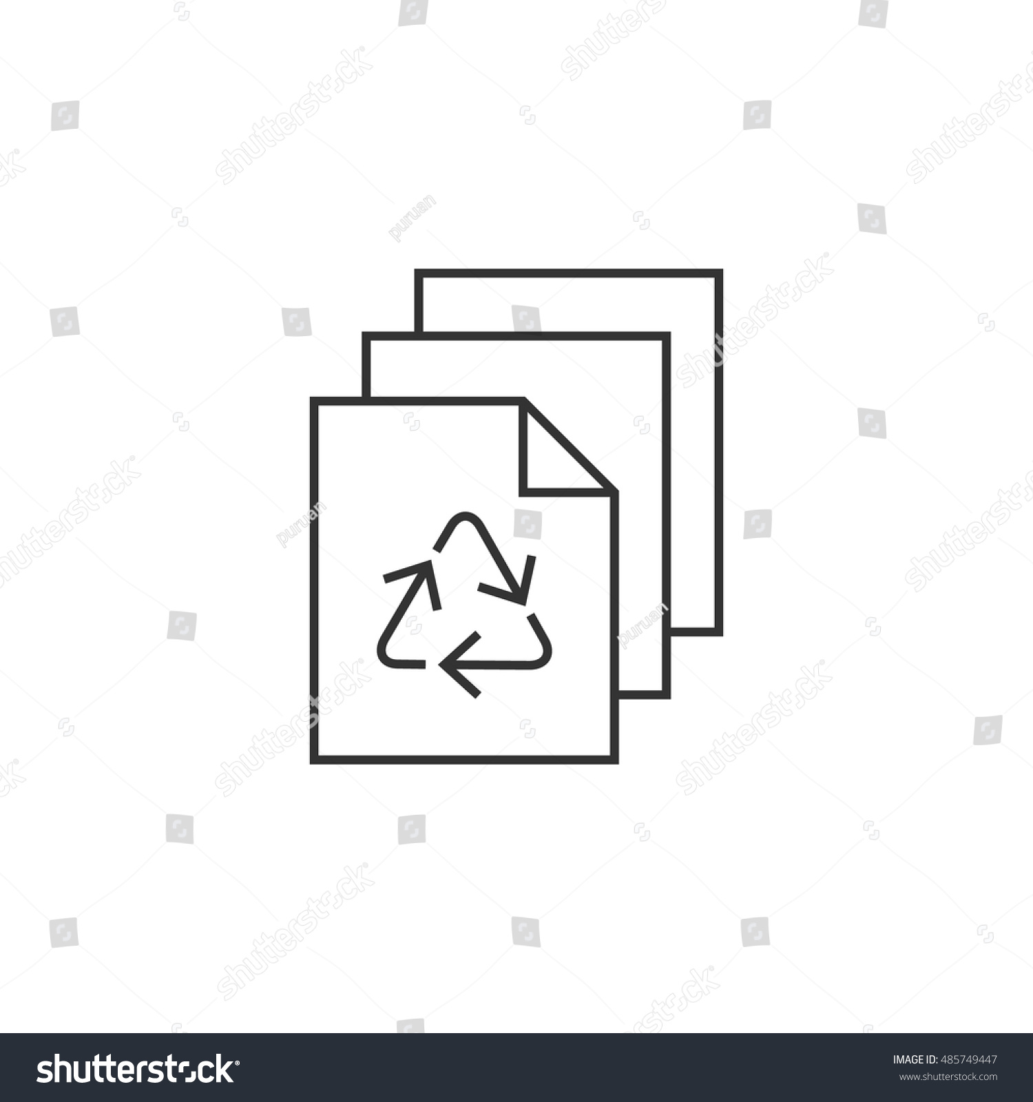 Recycle symbol icon thin outline style stock vector 485749447 recycle symbol icon in thin outline style environment recyclable paper go green buycottarizona