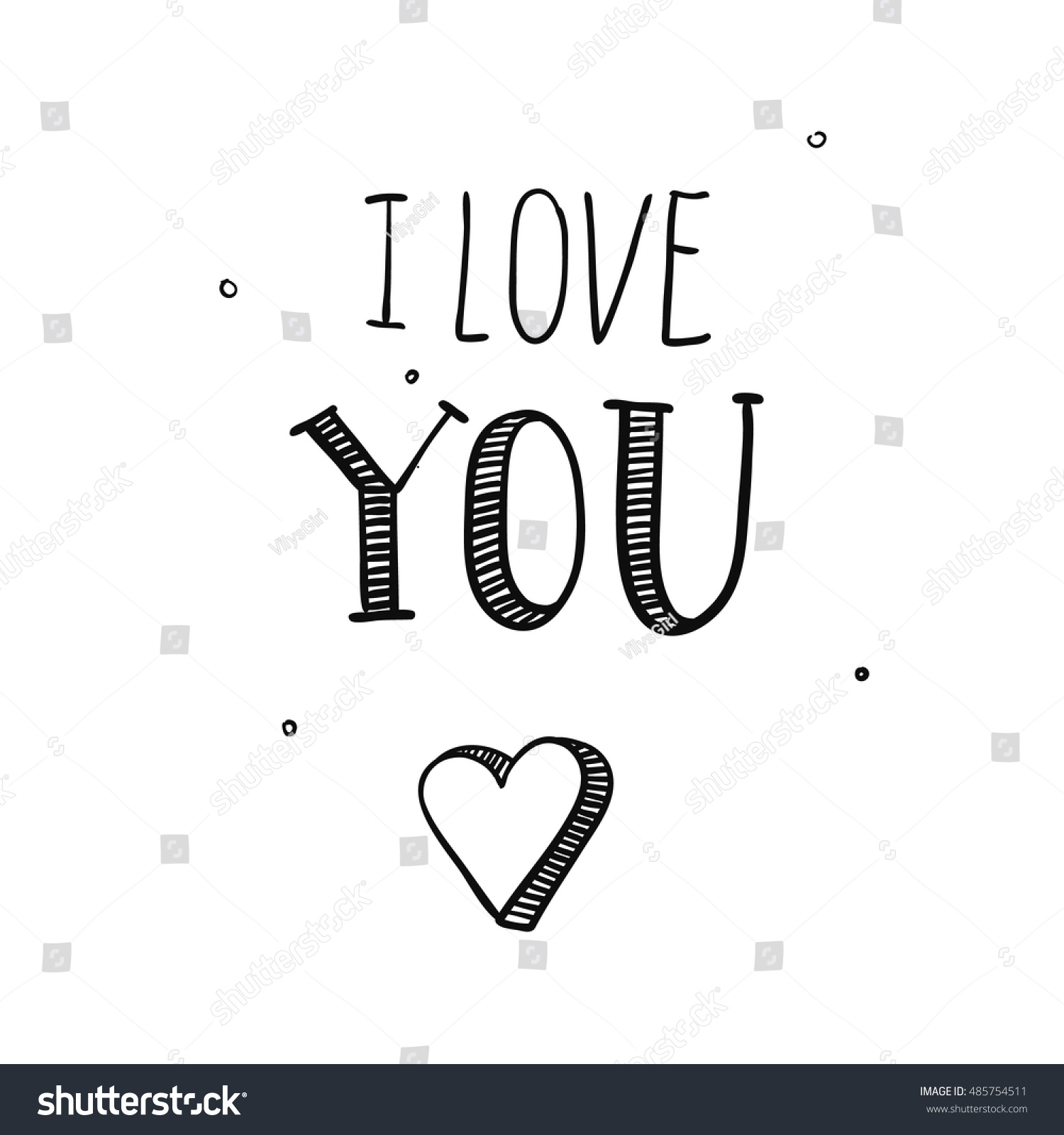 Love You Hand Draw Valentines Day Stock Vector Royalty Free