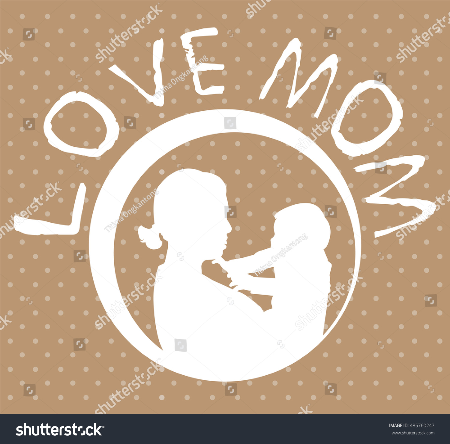 Mother and son stylized vector silhouette outlined sketch of mom and child brown white