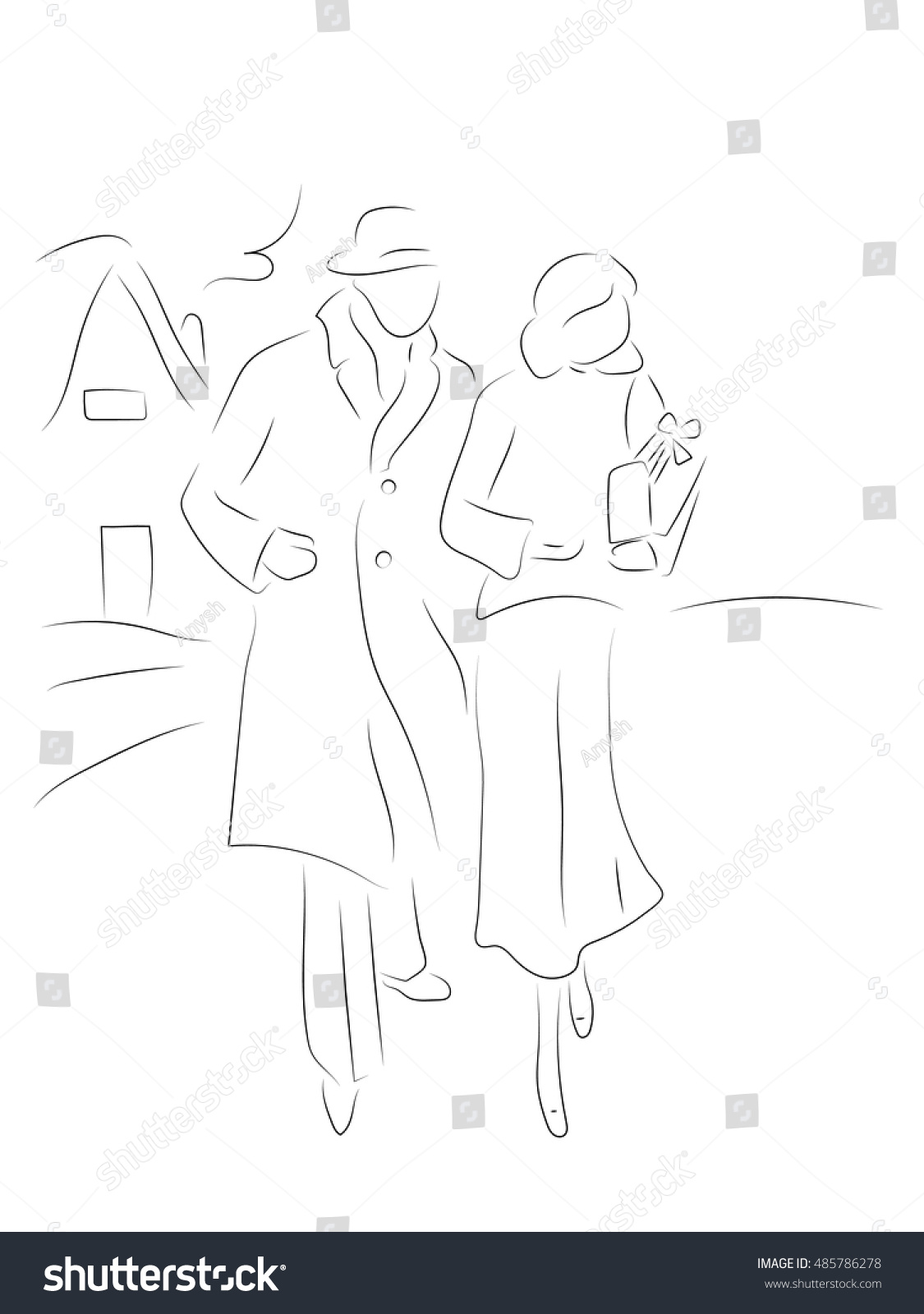 Man and woman walk in winter clothes pencil drawing hand drawn