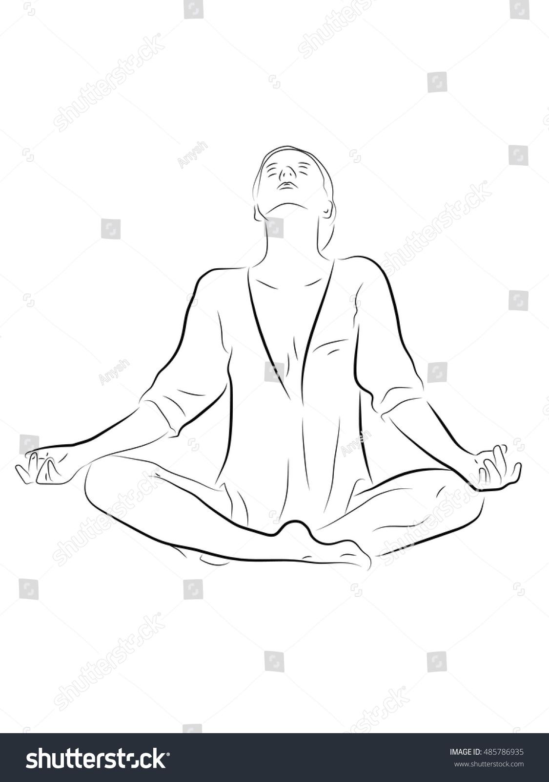 Woman Sitting Meditating Posture Pencil Drawing Stock Vector Royalty Free 485786935