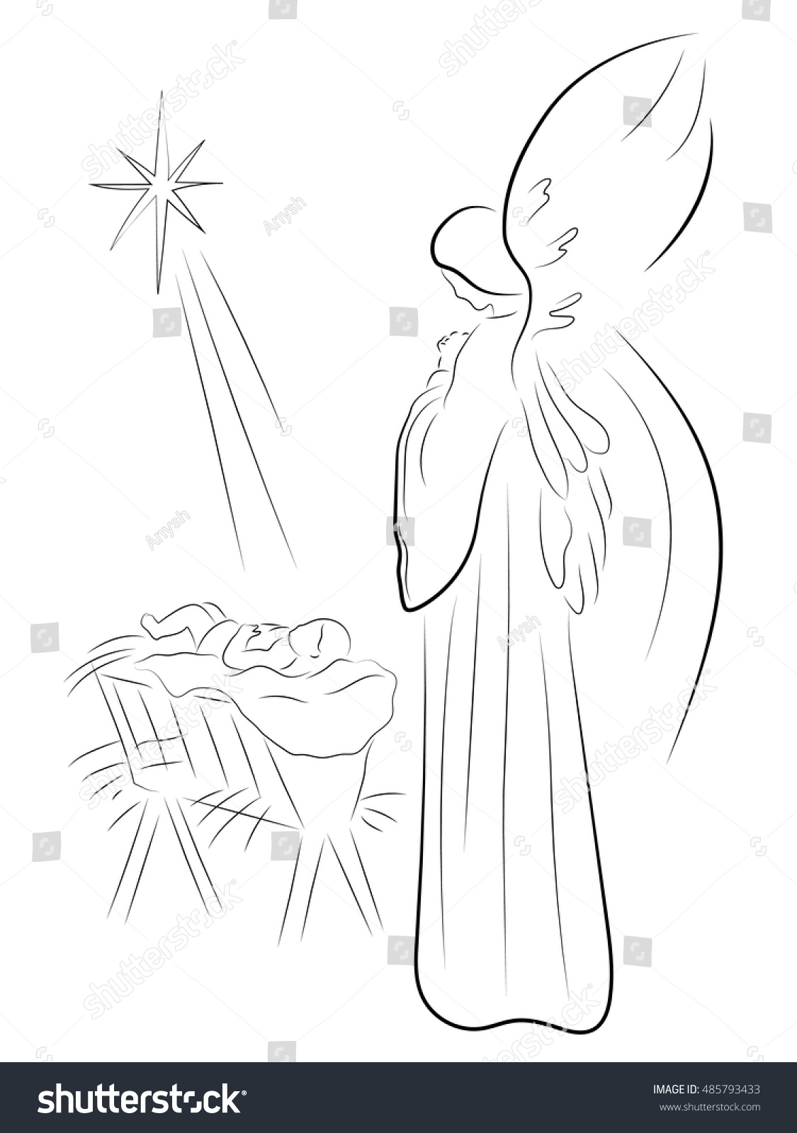 Christmas Angel Baby Jesus Pencil Drawing Royalty Free
