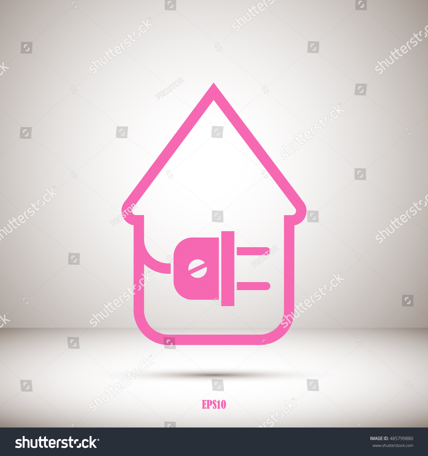 Electric Wire Plug Showing House Stock Vector 485799880 - Shutterstock