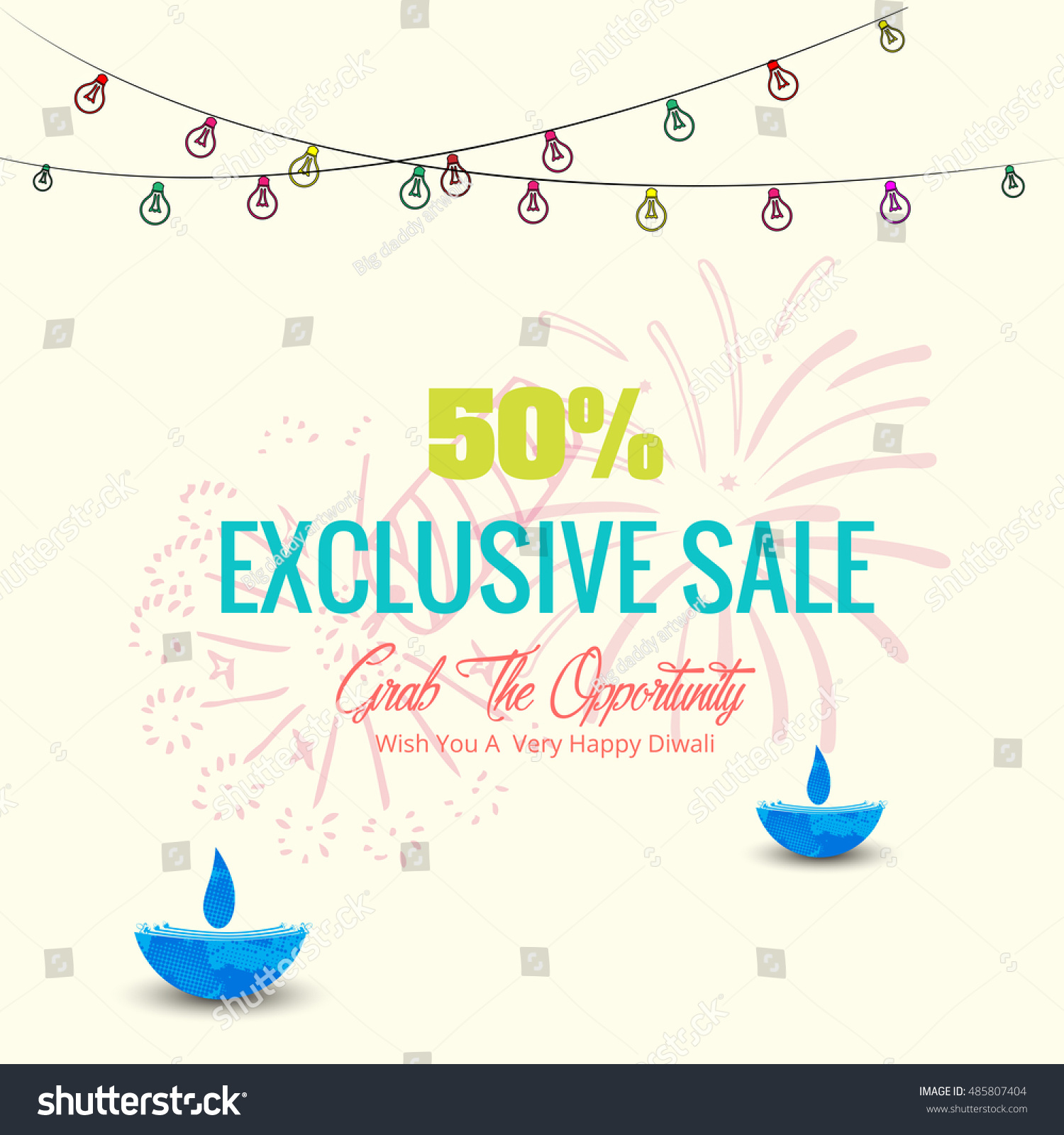 Vector illustration of Diwali festival with beautiful stylish lamp and Diwali lighting elements Offers