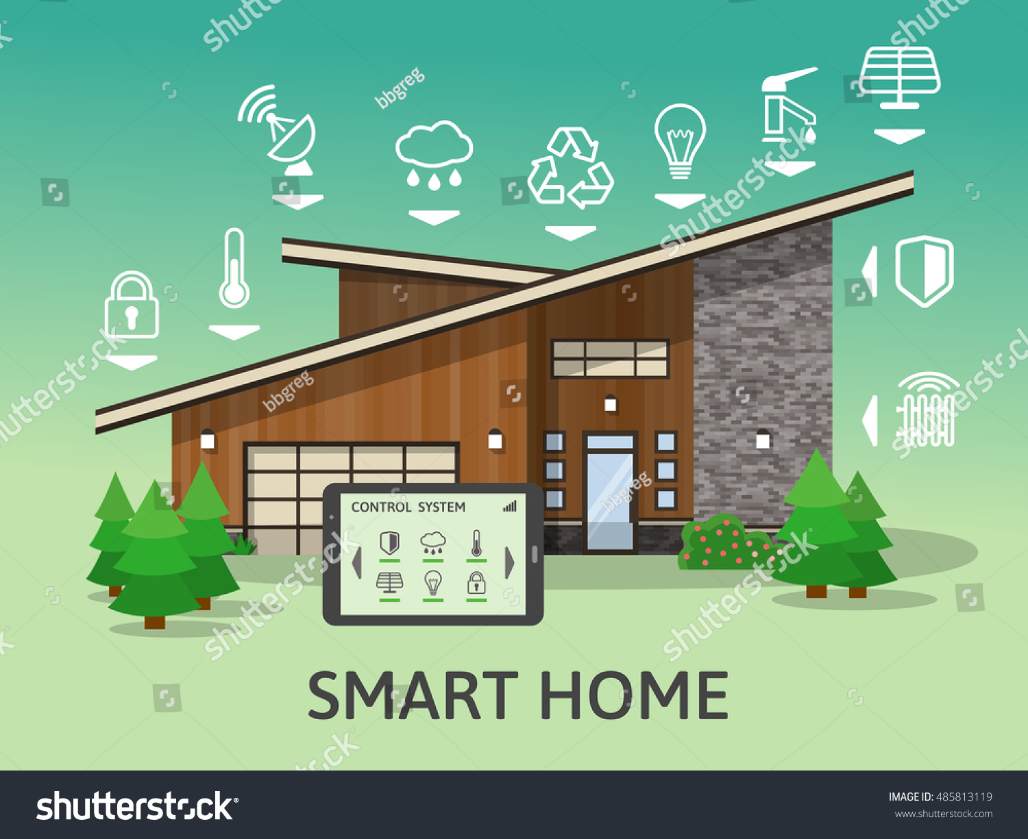 Modern smart home flat design style stock vector 485813119 shutterstock - How to design a smart home ...