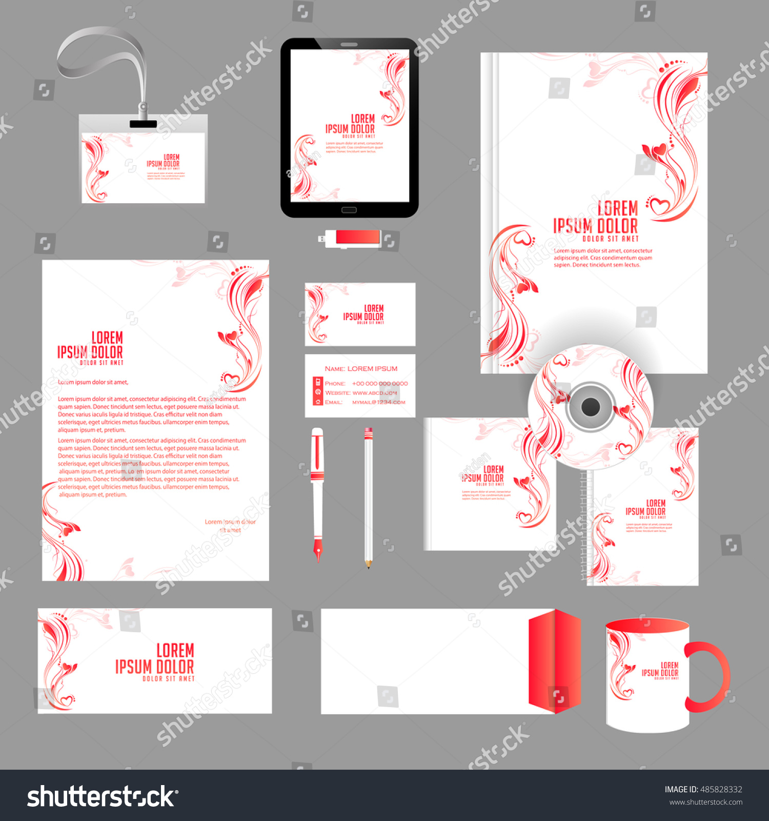Creative Vector Templates Office Stationery Nice Stock Vector